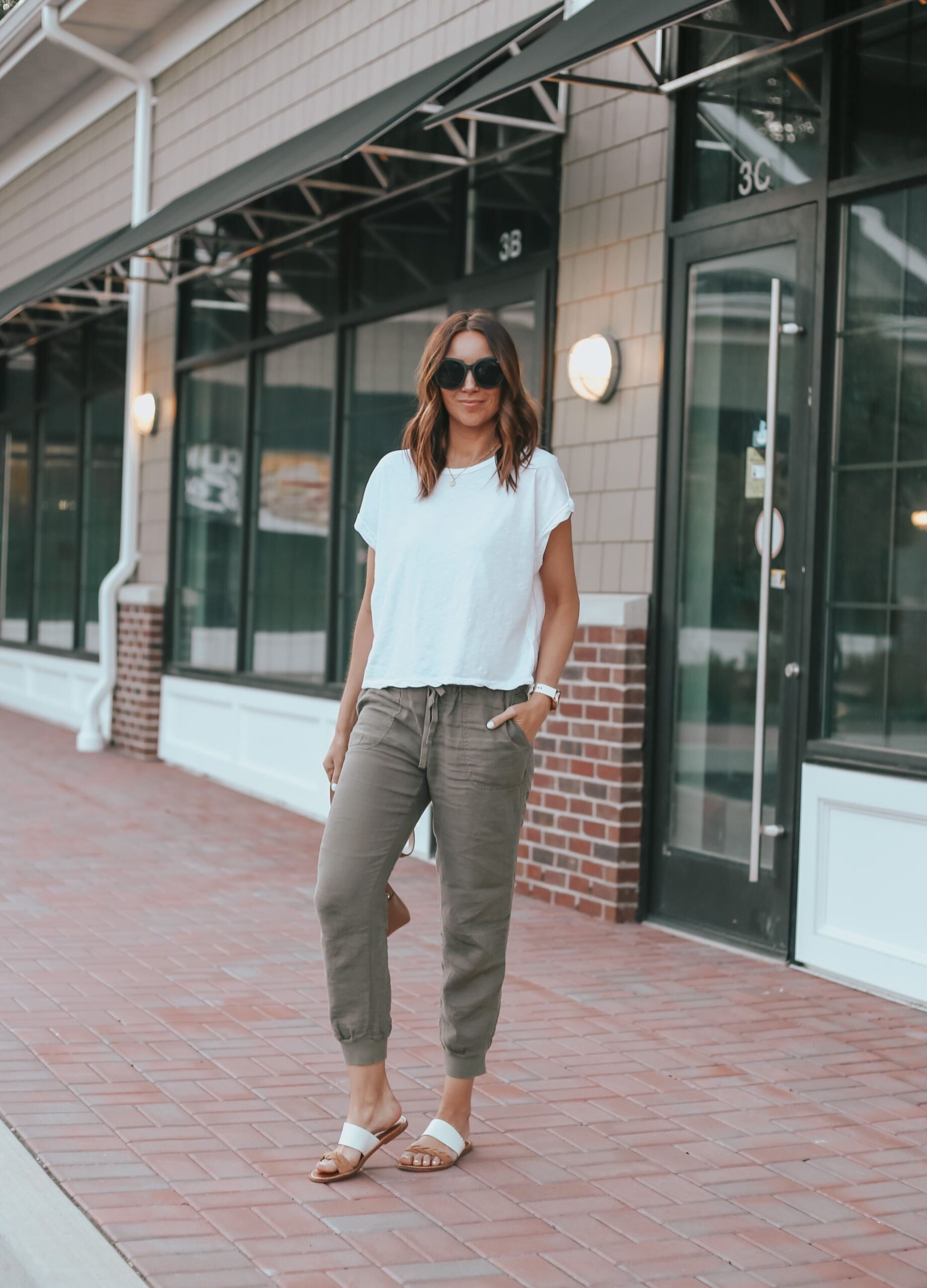 linen joggers and white tee