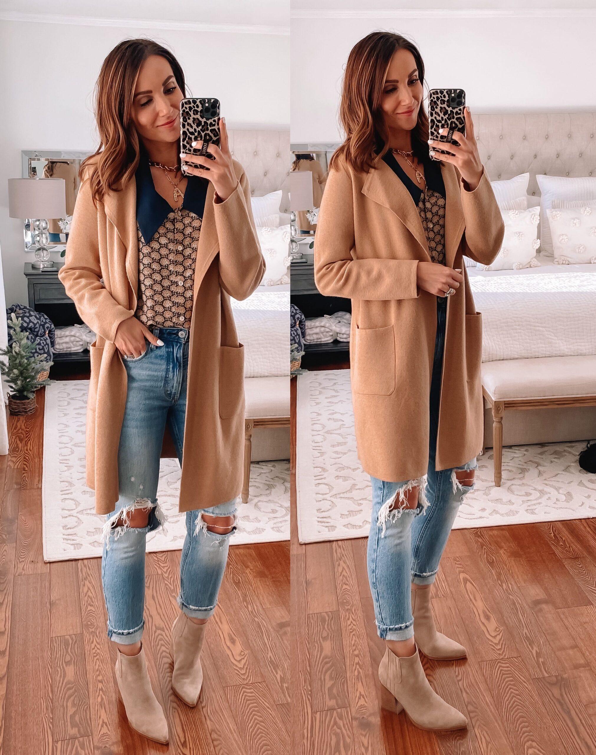 juliette sweater blazer, abercrombie jeans, marc fisher booties