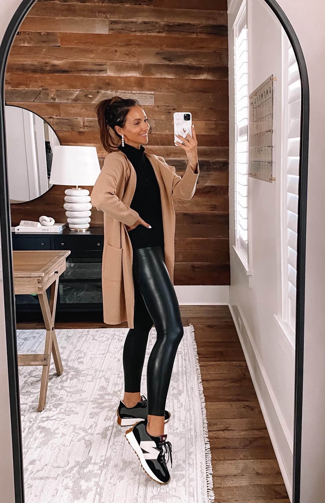 jcrew juliette sweater blazer with faux leather leggings