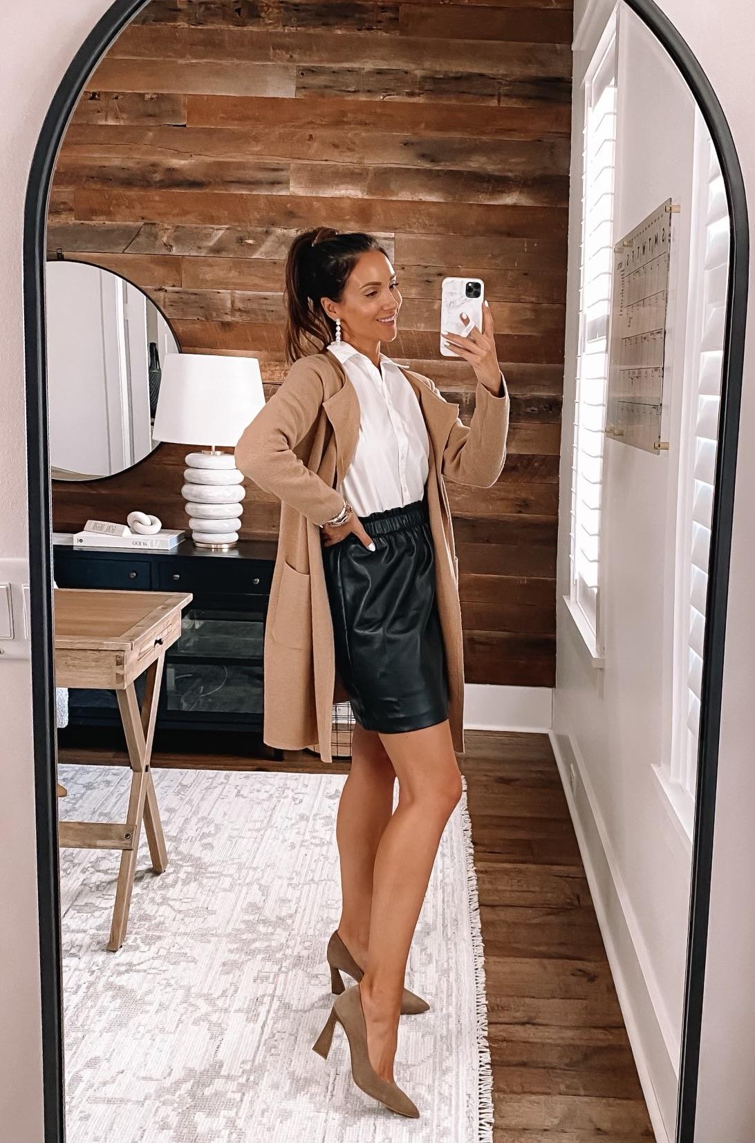 j.crew juliette sweater blazer with faux leather skirt