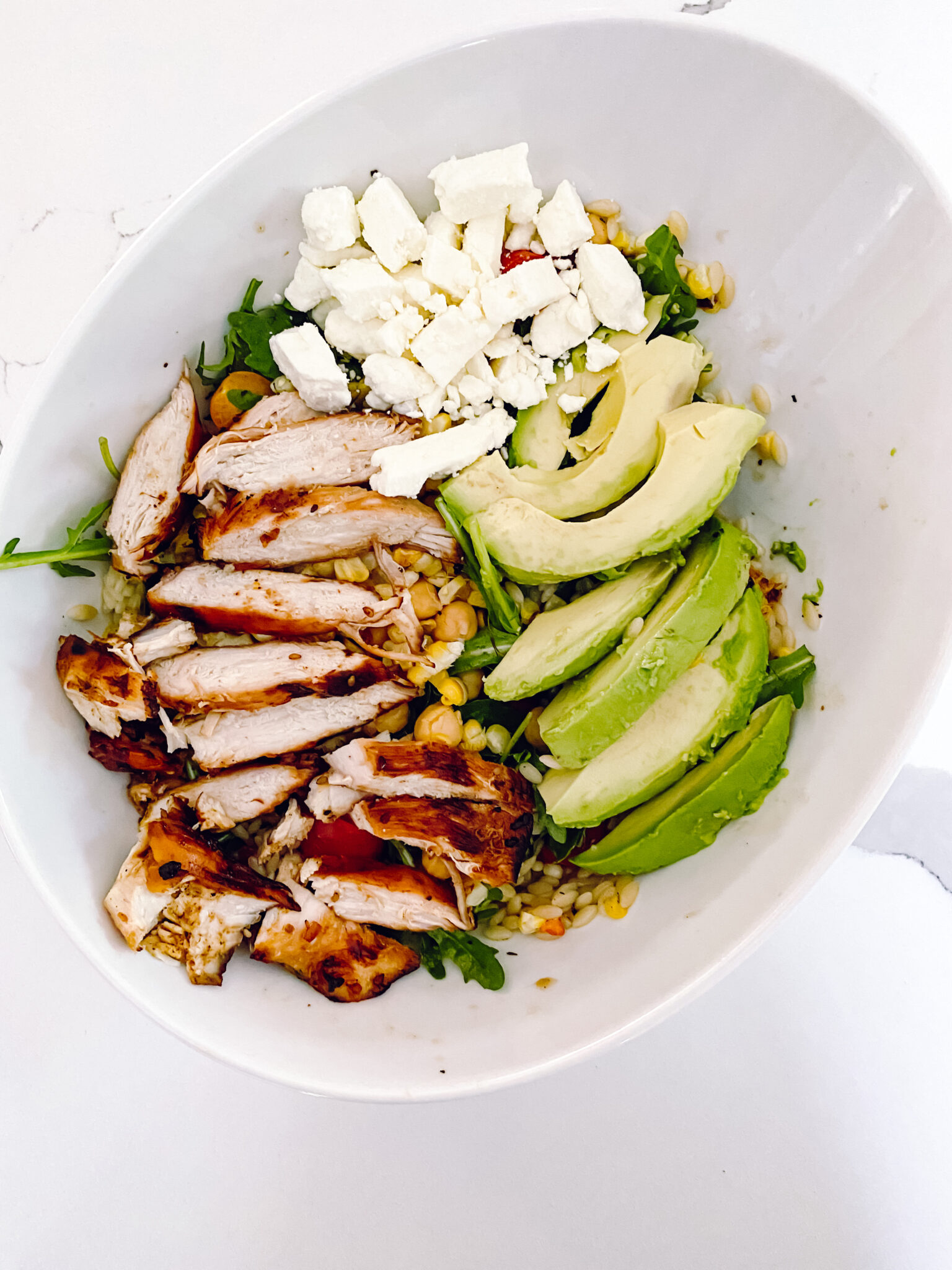 summer salad, grilled chicken salad , orzo salad