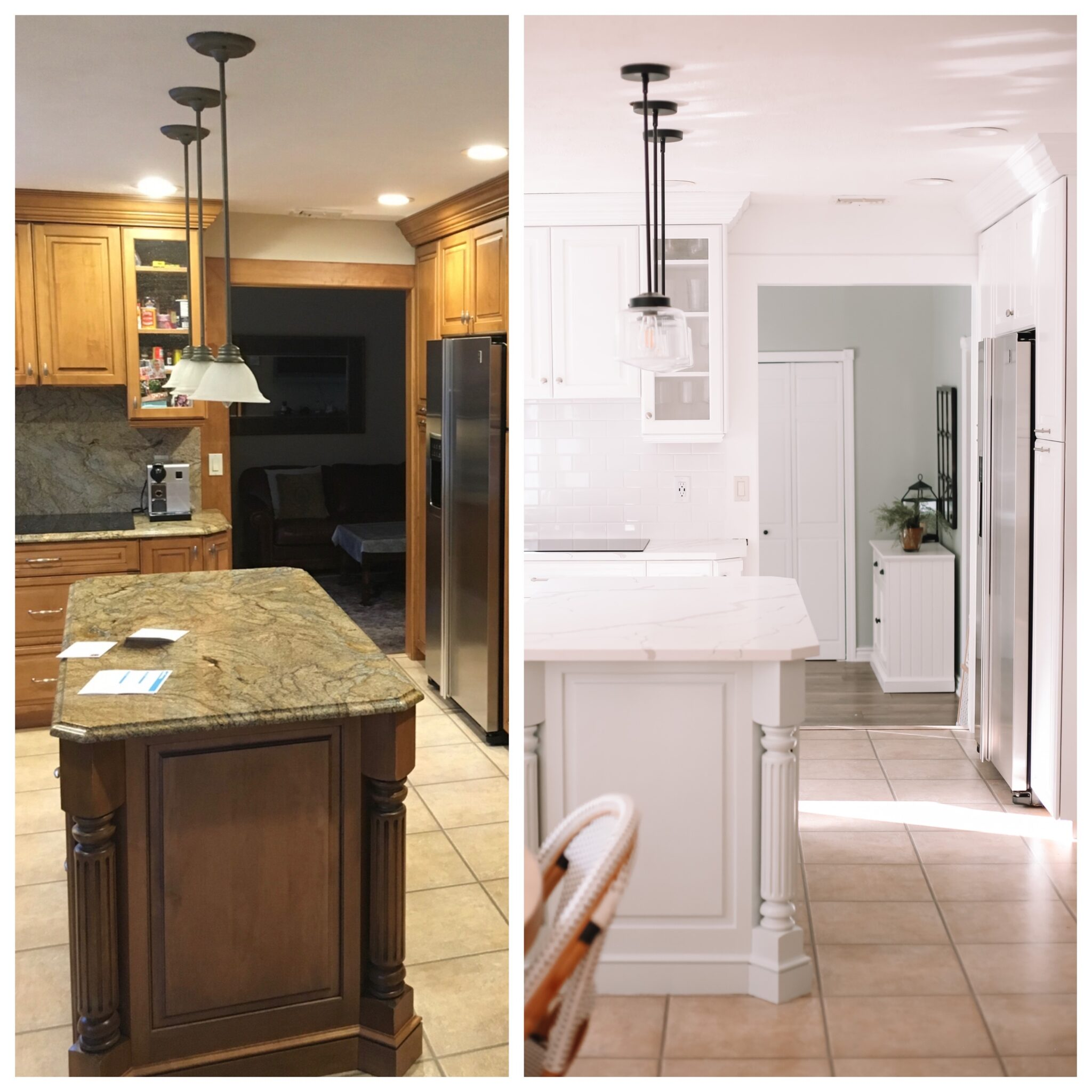 kitchen update, painted kitchen cabinets, before and after