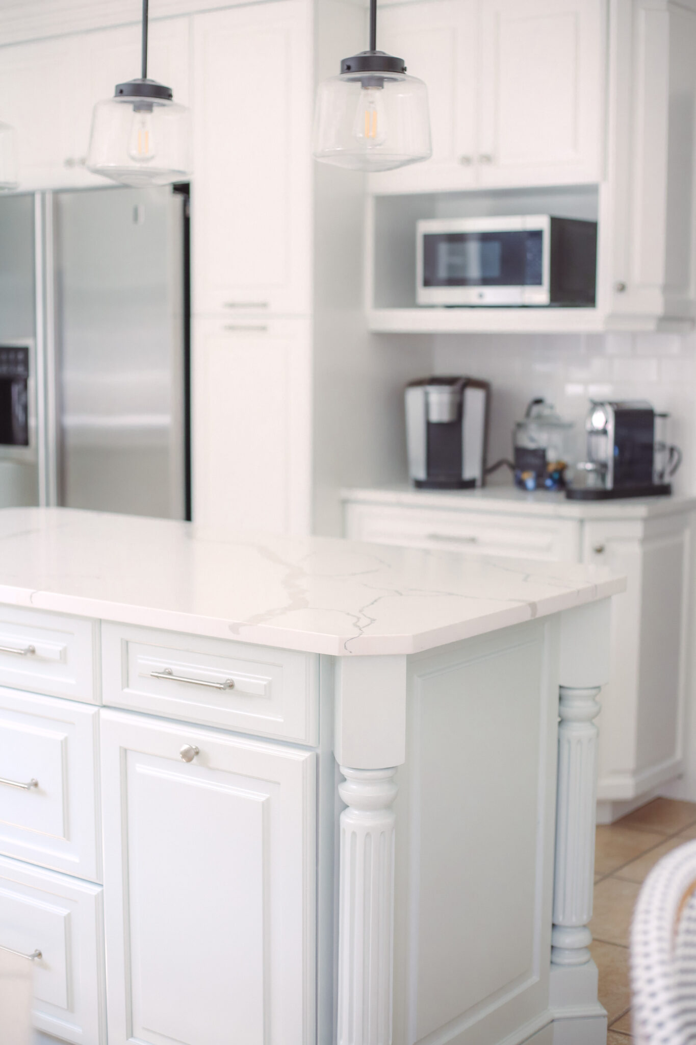 kitchen update, painted white cabinets in sherwin williams pure white and sherwin williams sea salt