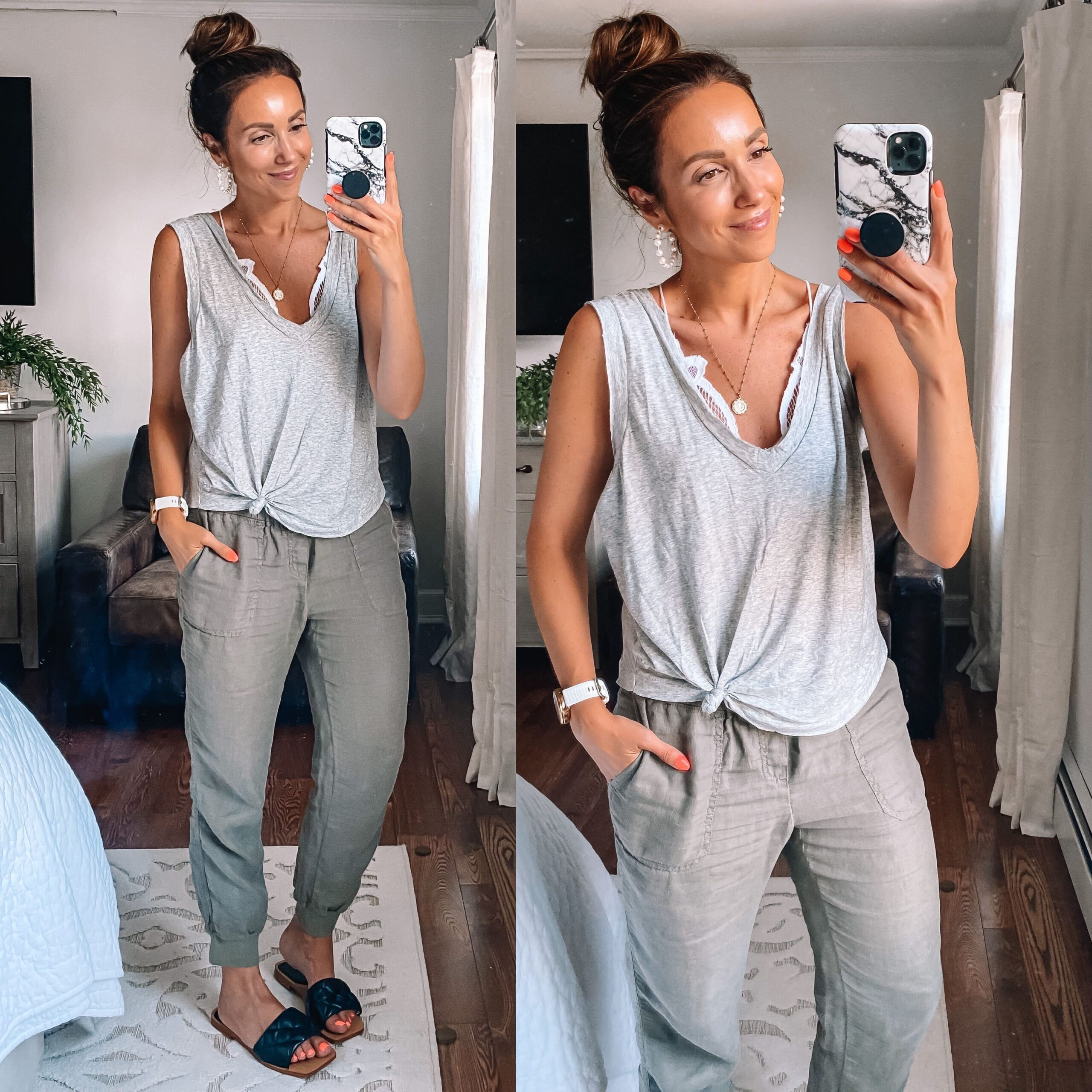 spring outfit with linen joggers