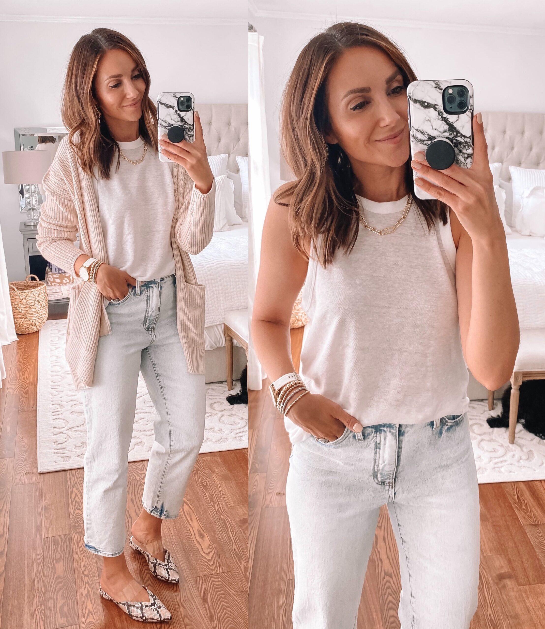 target finds, boyfriend jeans, white tank