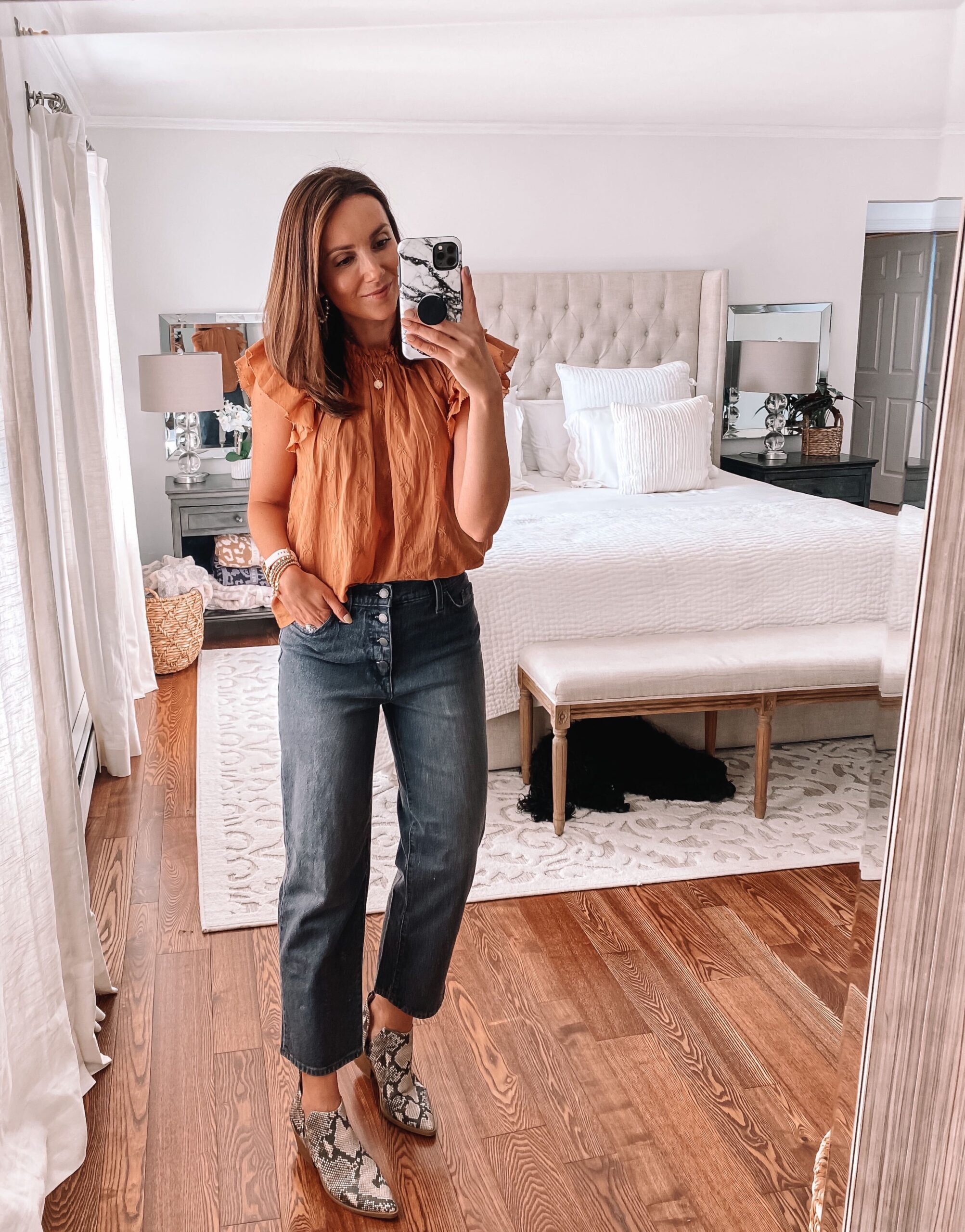 target finds, target blouse, button fly jeans, snakeskin booties