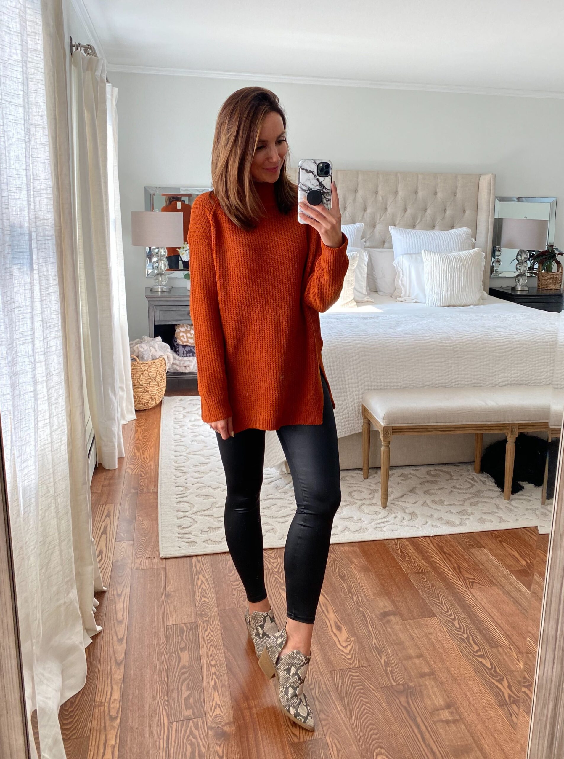 target finds, faux leather leggings, outfit with leggings