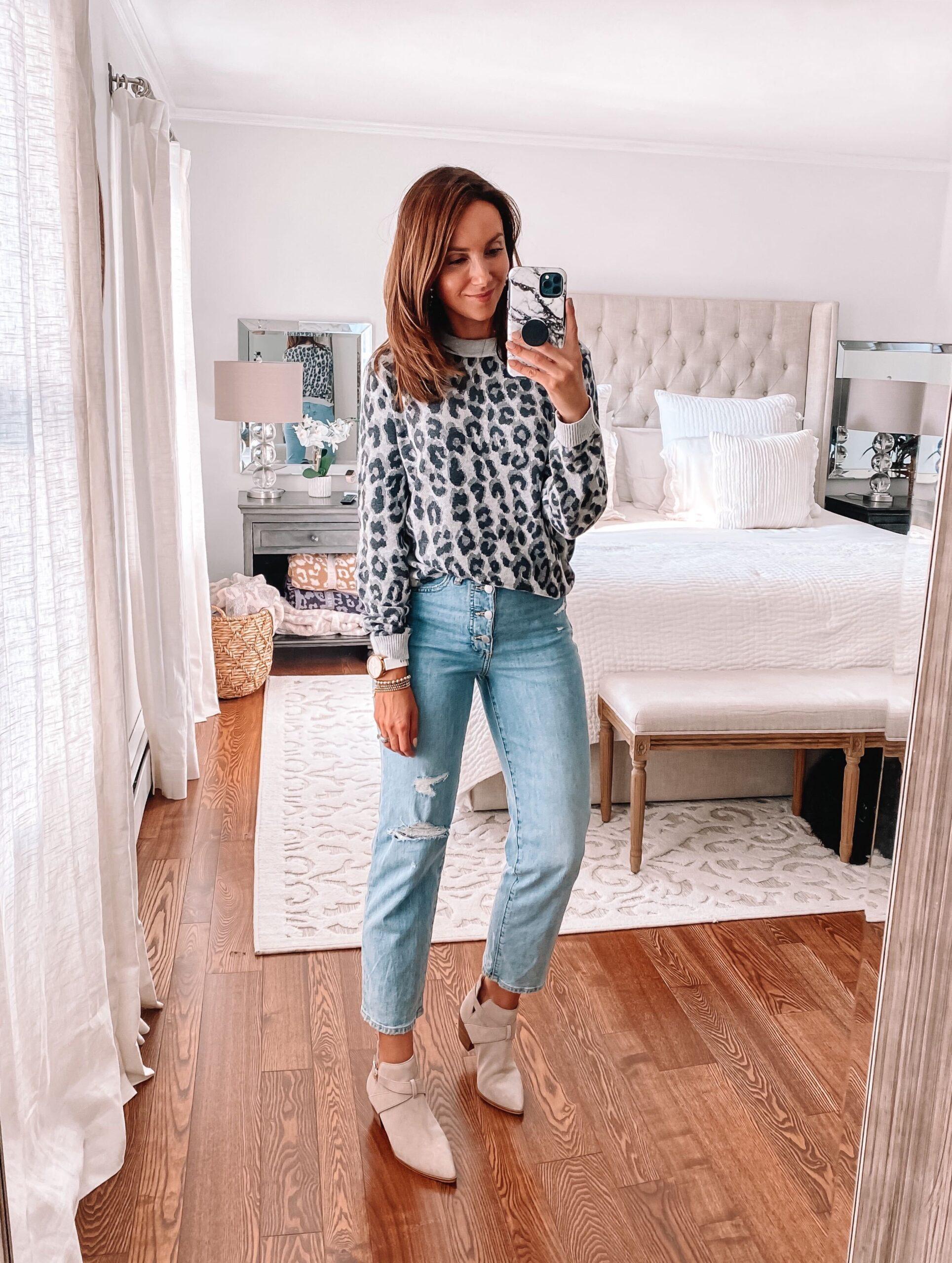 target finds, leopard sweatshirt, target jeans