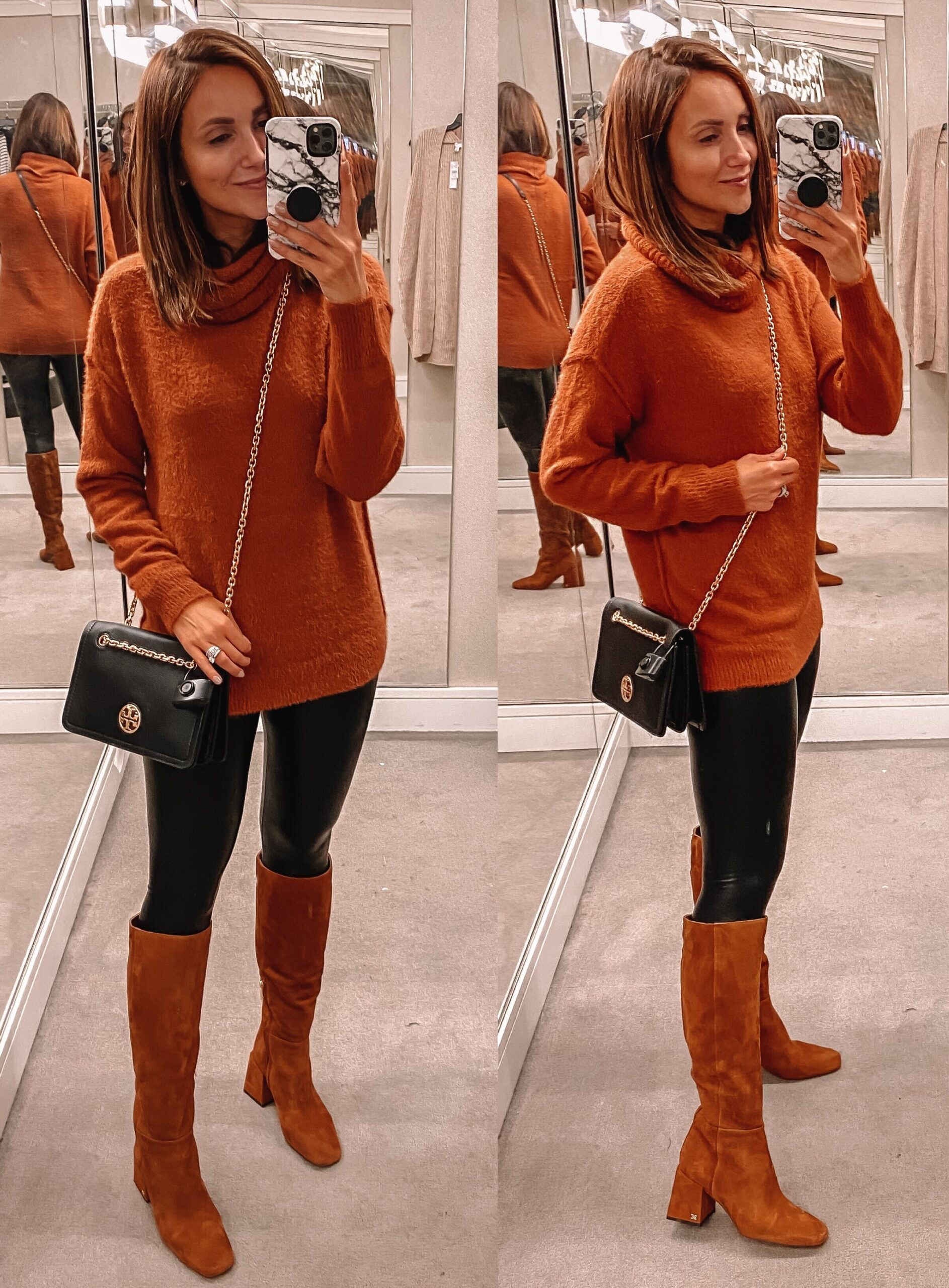 nsale sweater faux leather leggings