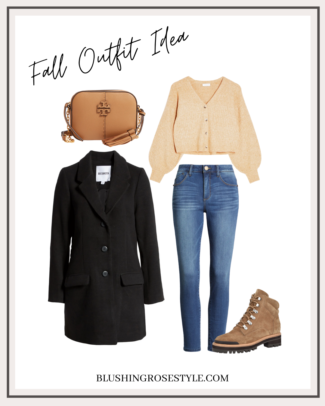 fall fashion, fall outfit idea, black pea coat, bell sleeve sweater
