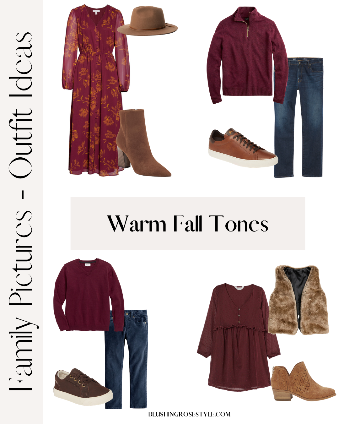 Warm Fall tones for family fall photo outfits