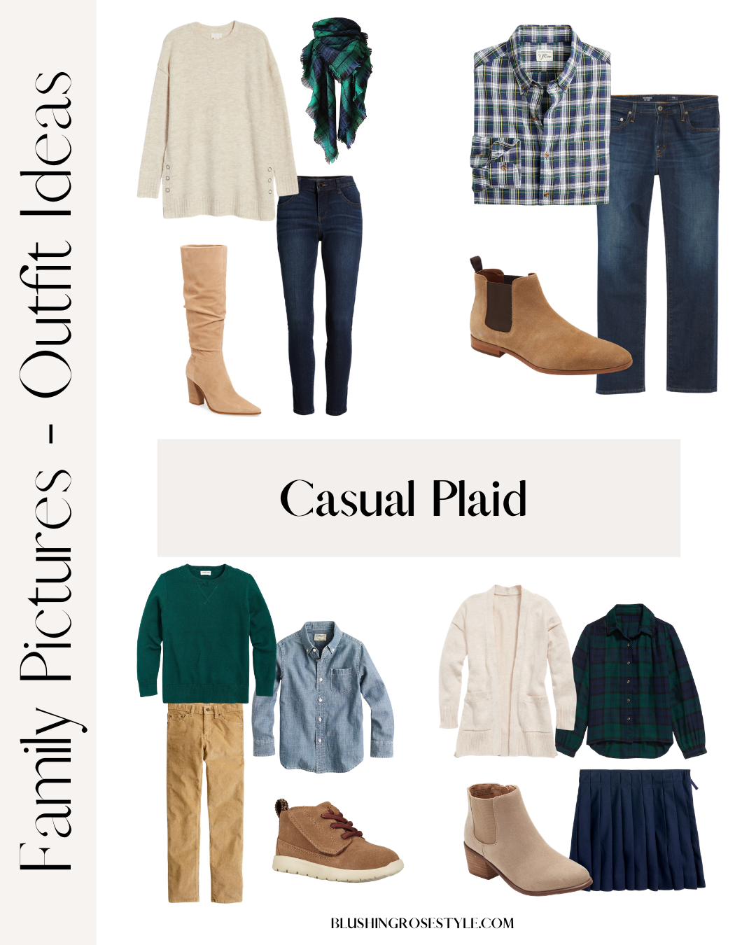 Casual plaid outfit ideas for family photos