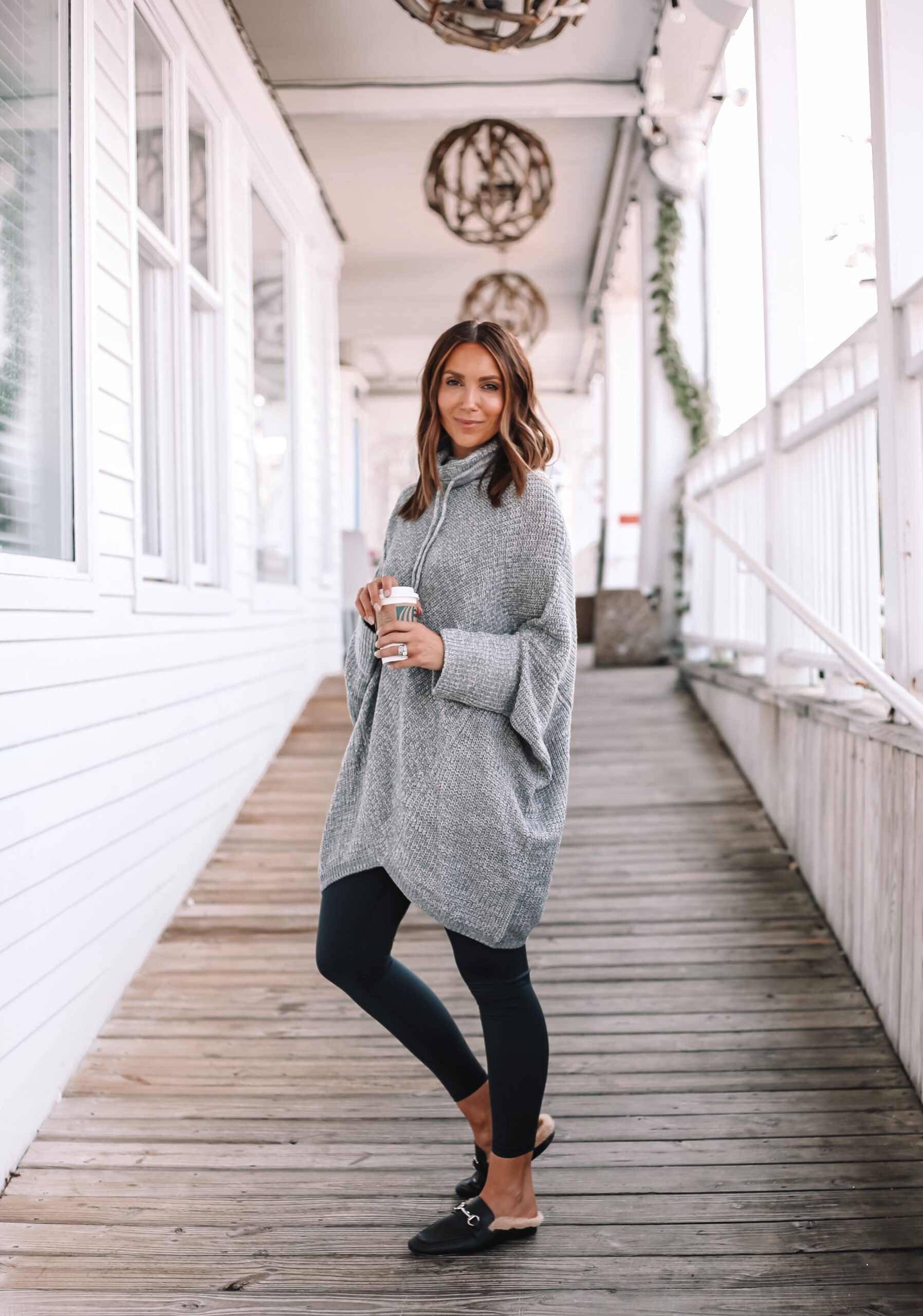 Walmart poncho with leggings and mules, fall outfit idea