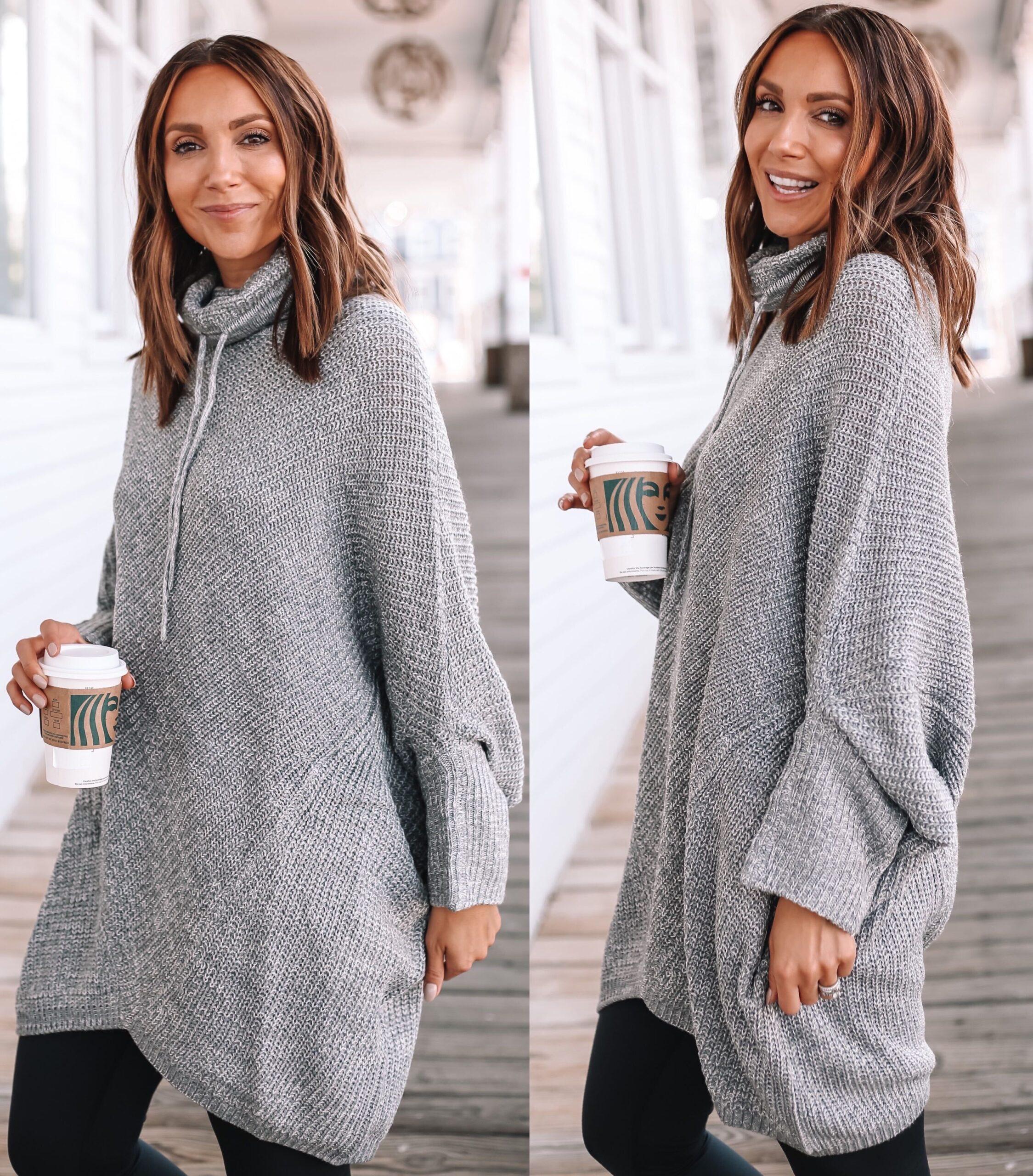 Walmart grey poncho, fall outfit