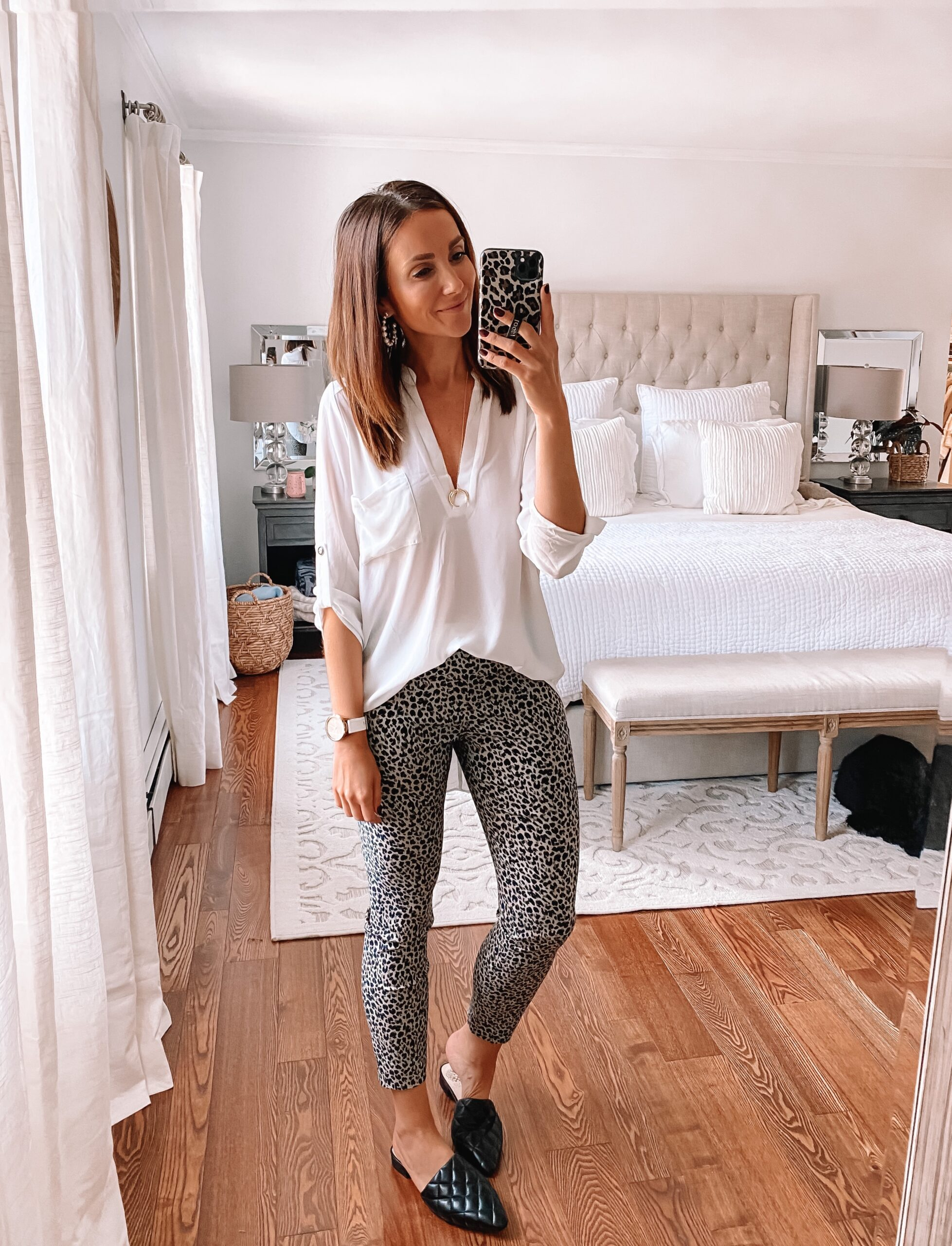 tunic and leopard pants, affordable workwear