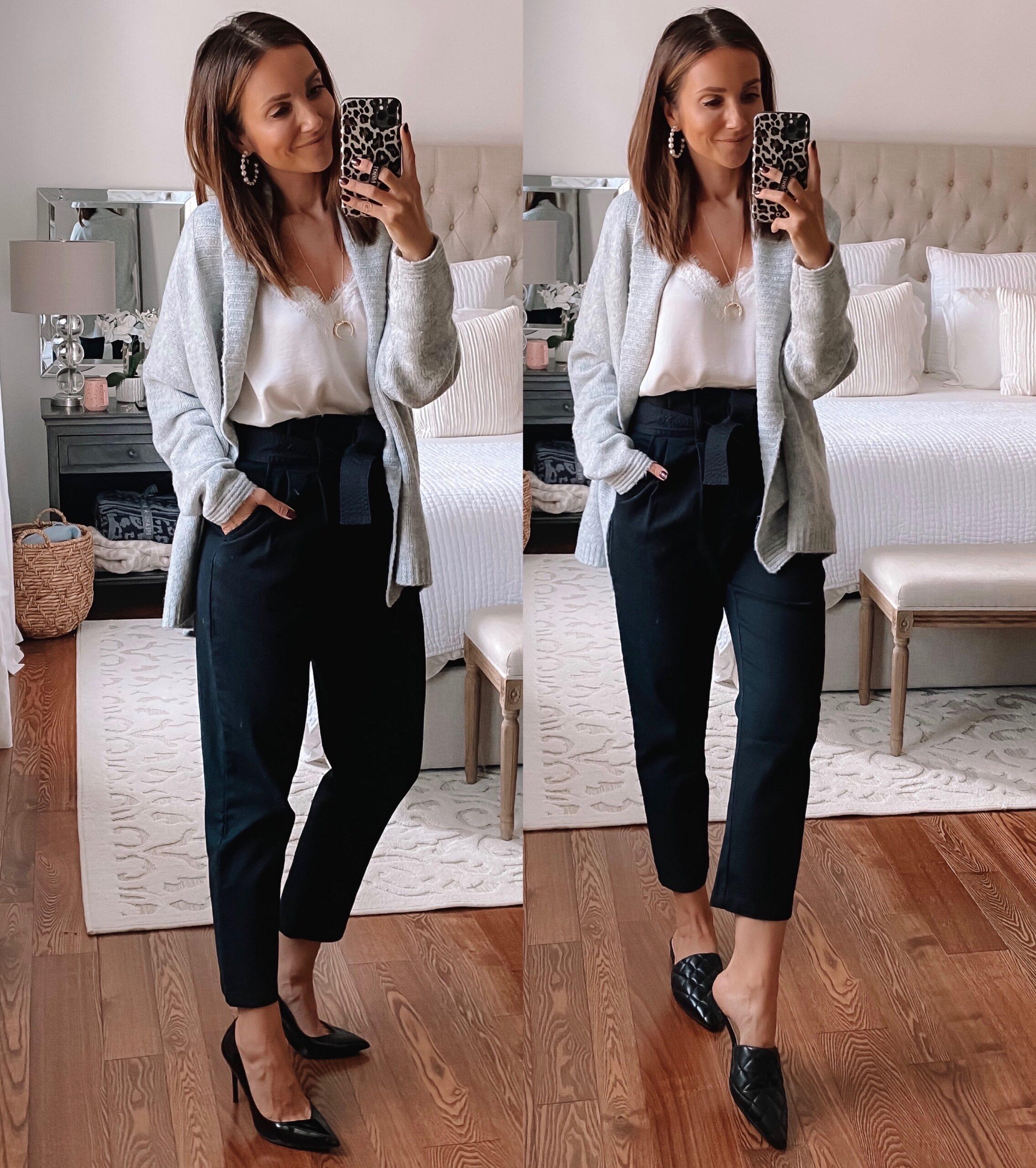 affordable workwear, paperbag pants, grey cardiga