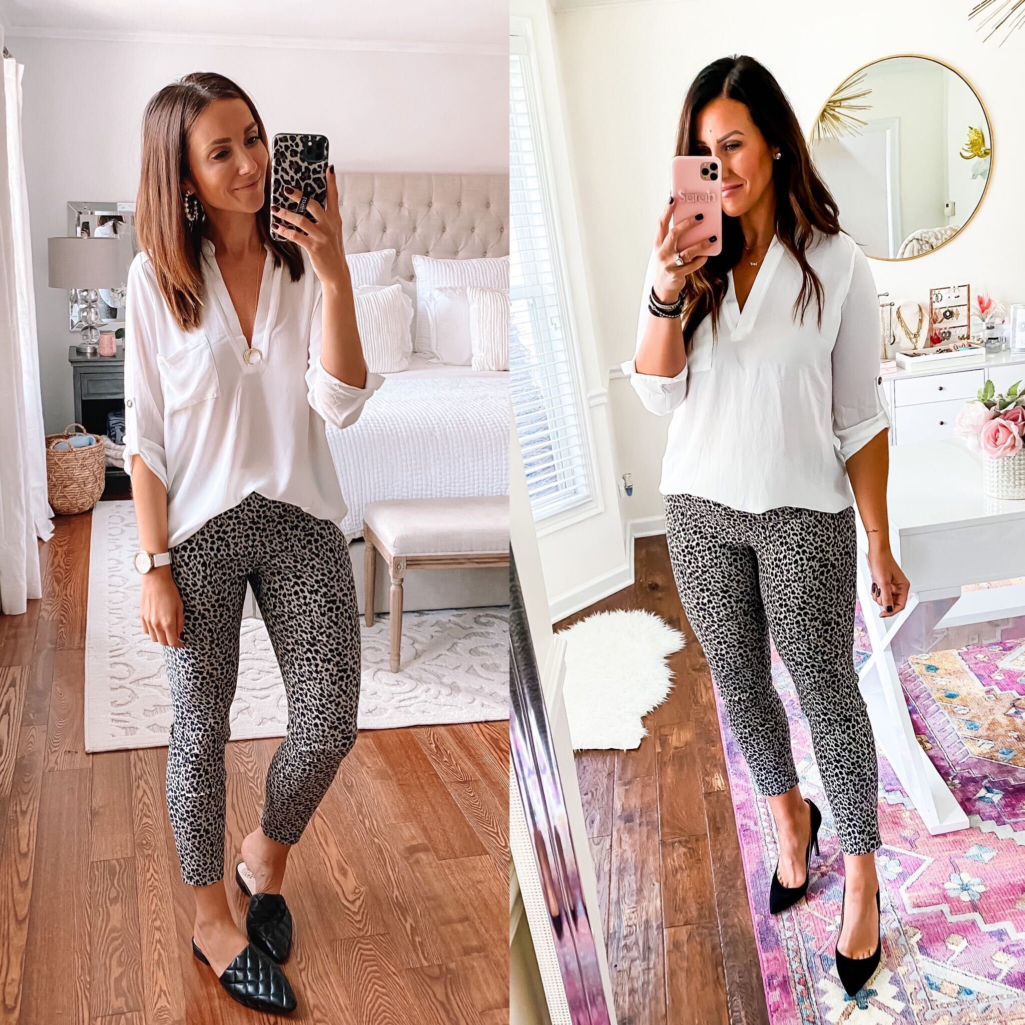 Workwear outfit two different body types, leopard pants