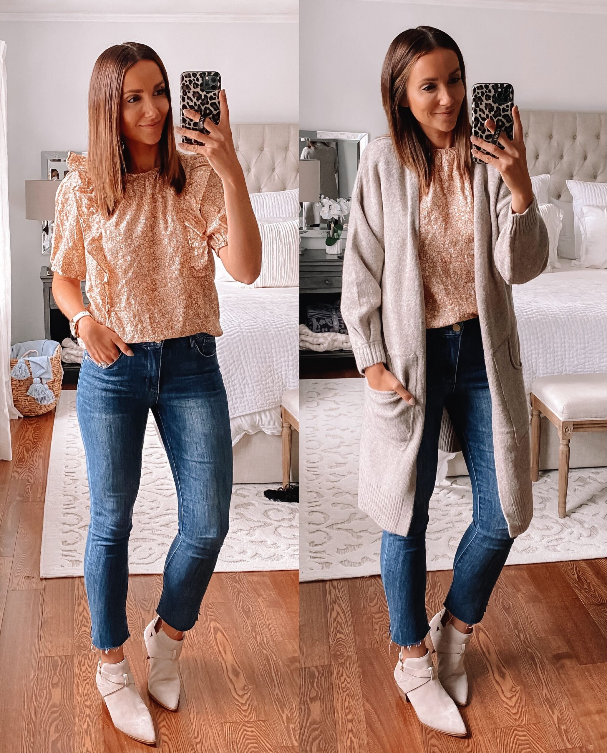 Target style, grey cardigan, fall outfit idea