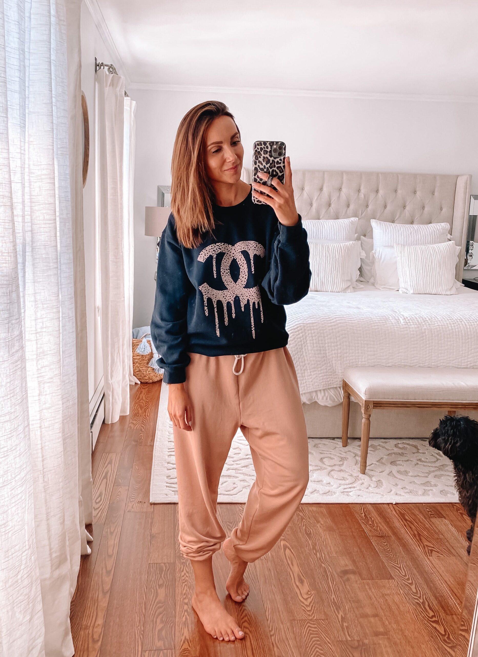 designer inspired graphic sweatshirt, loungewear