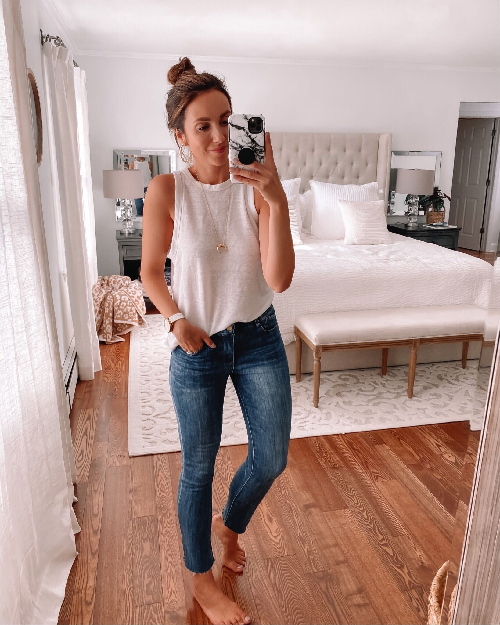 white tank and jeans, casual outfit style