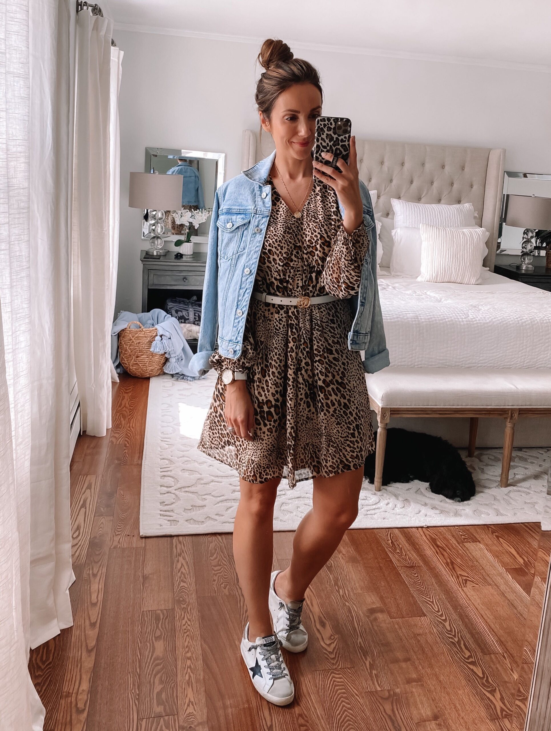 leopard dress styled athleisure, fall outfit idea