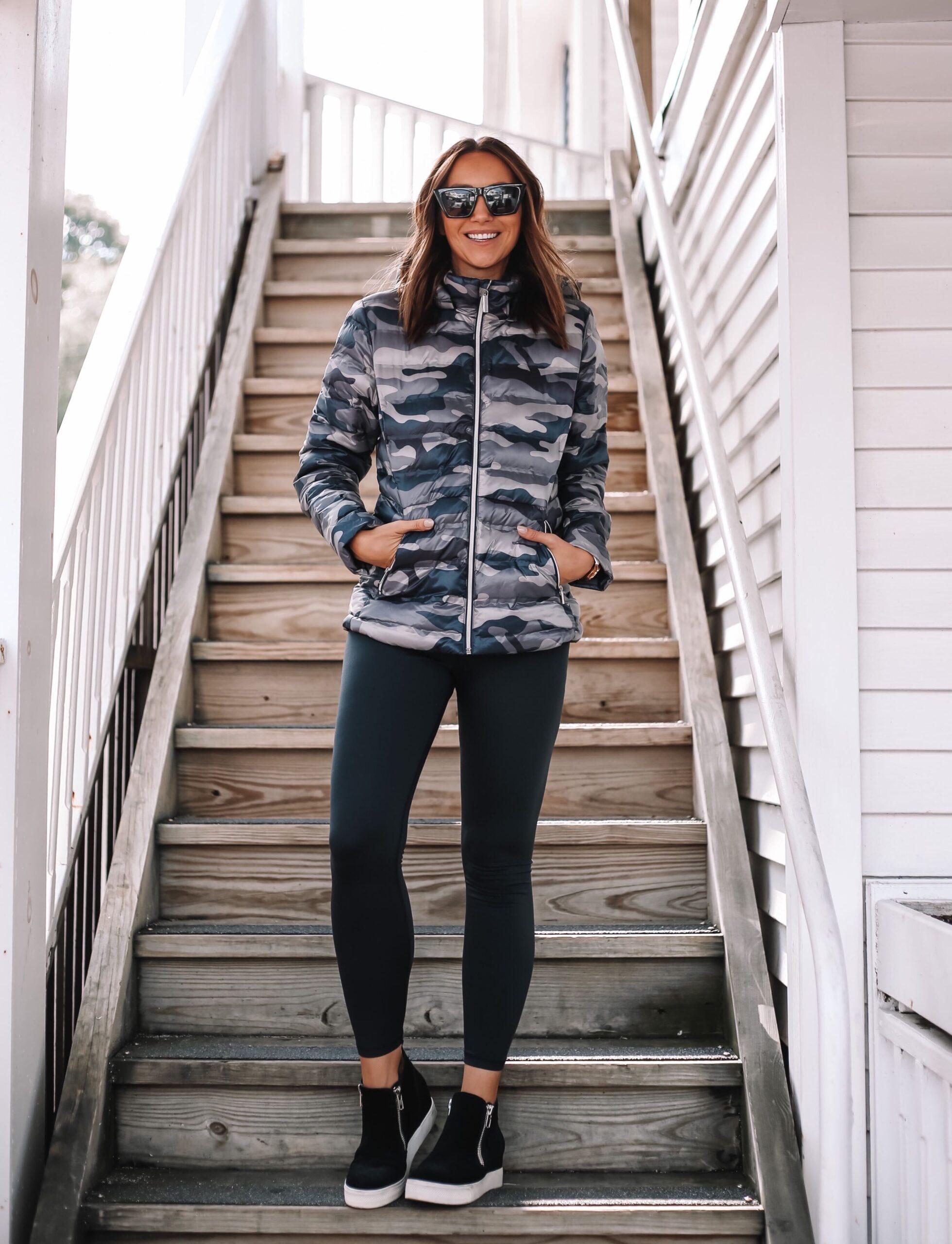 walmart camo puffer jacket, fall outfit idea, fall jacket