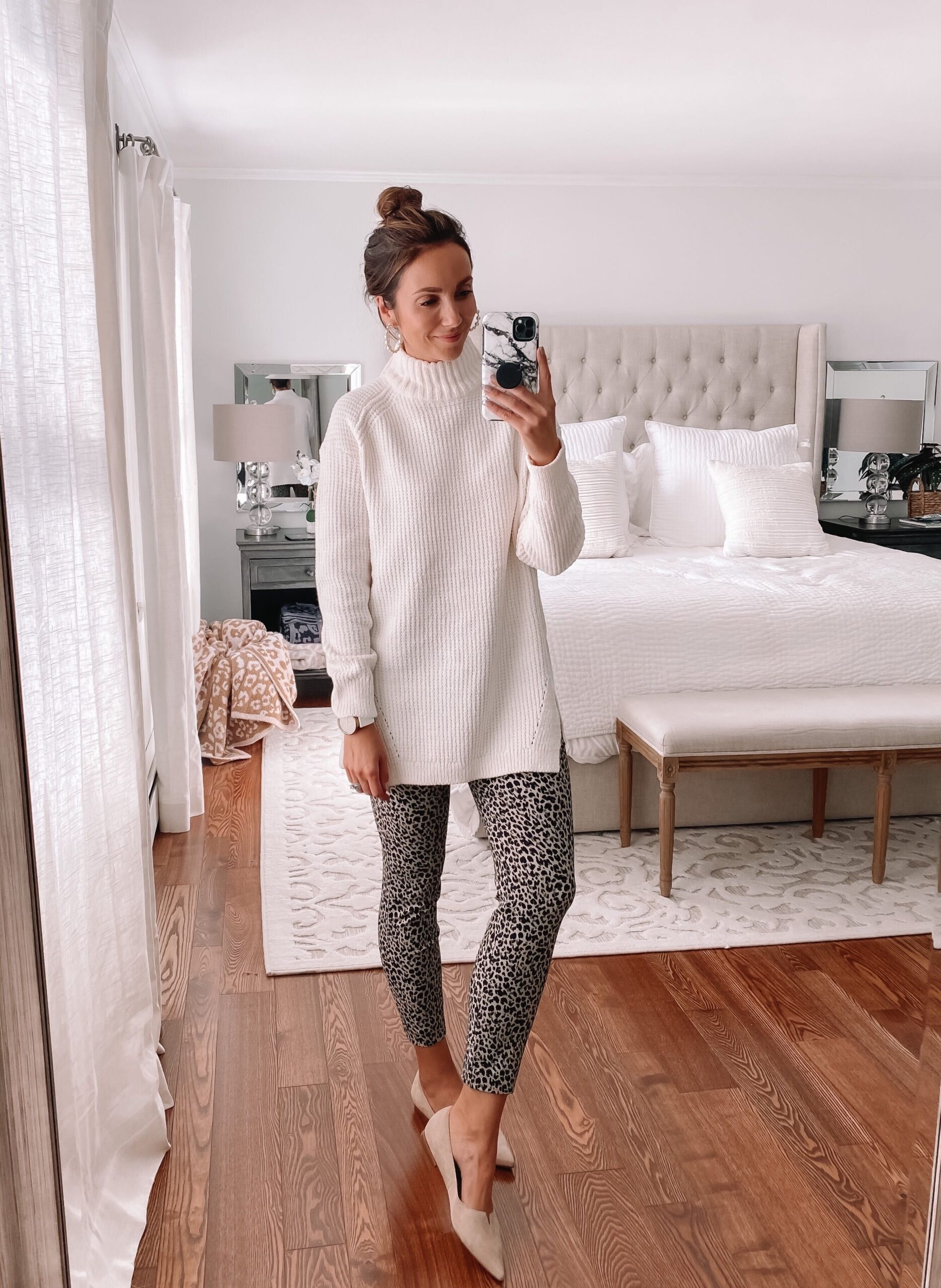 target finds, tunic sweater, leopard pants, workwear style