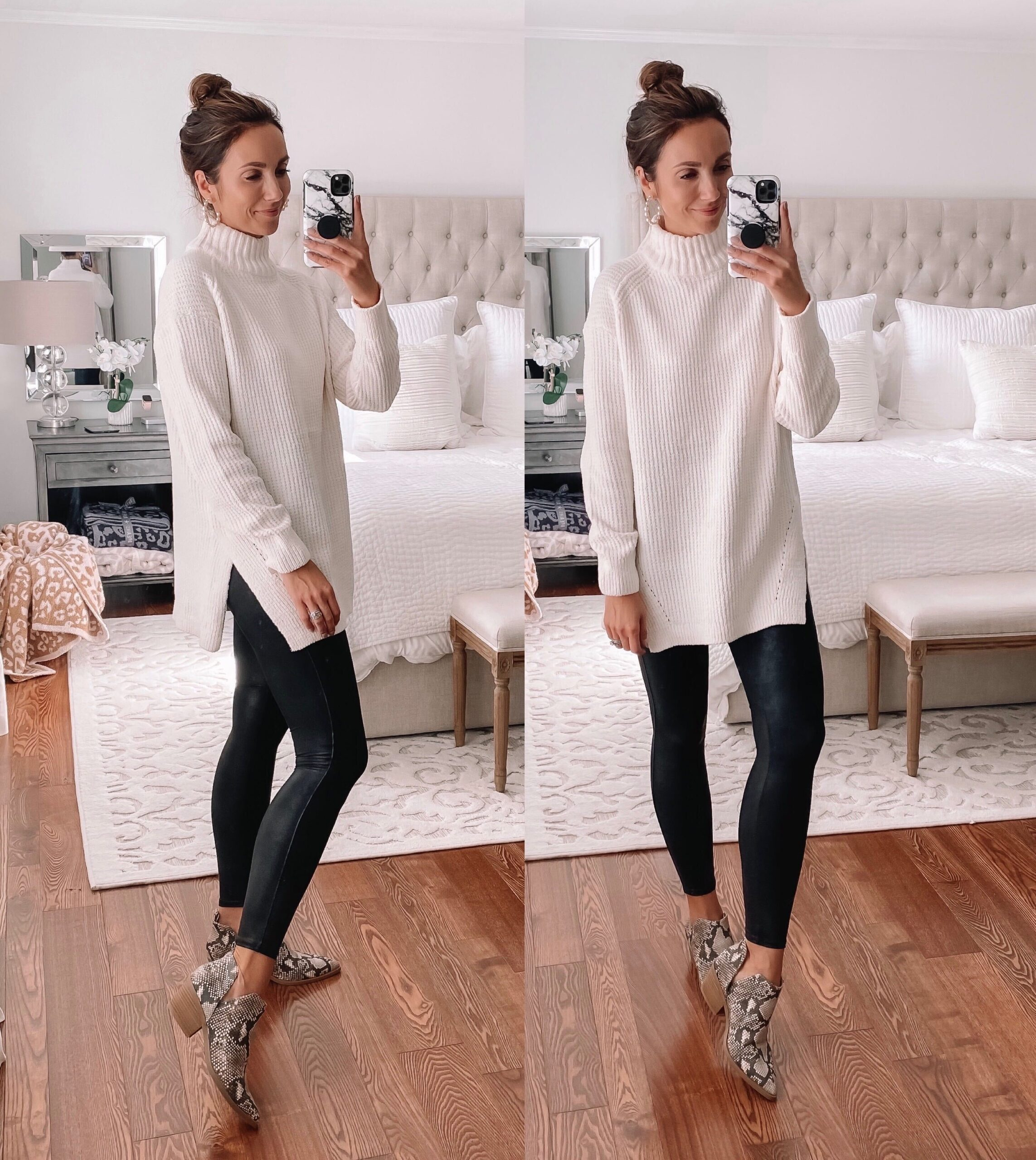 target sweater, faux leather leggings, fall outfit idea