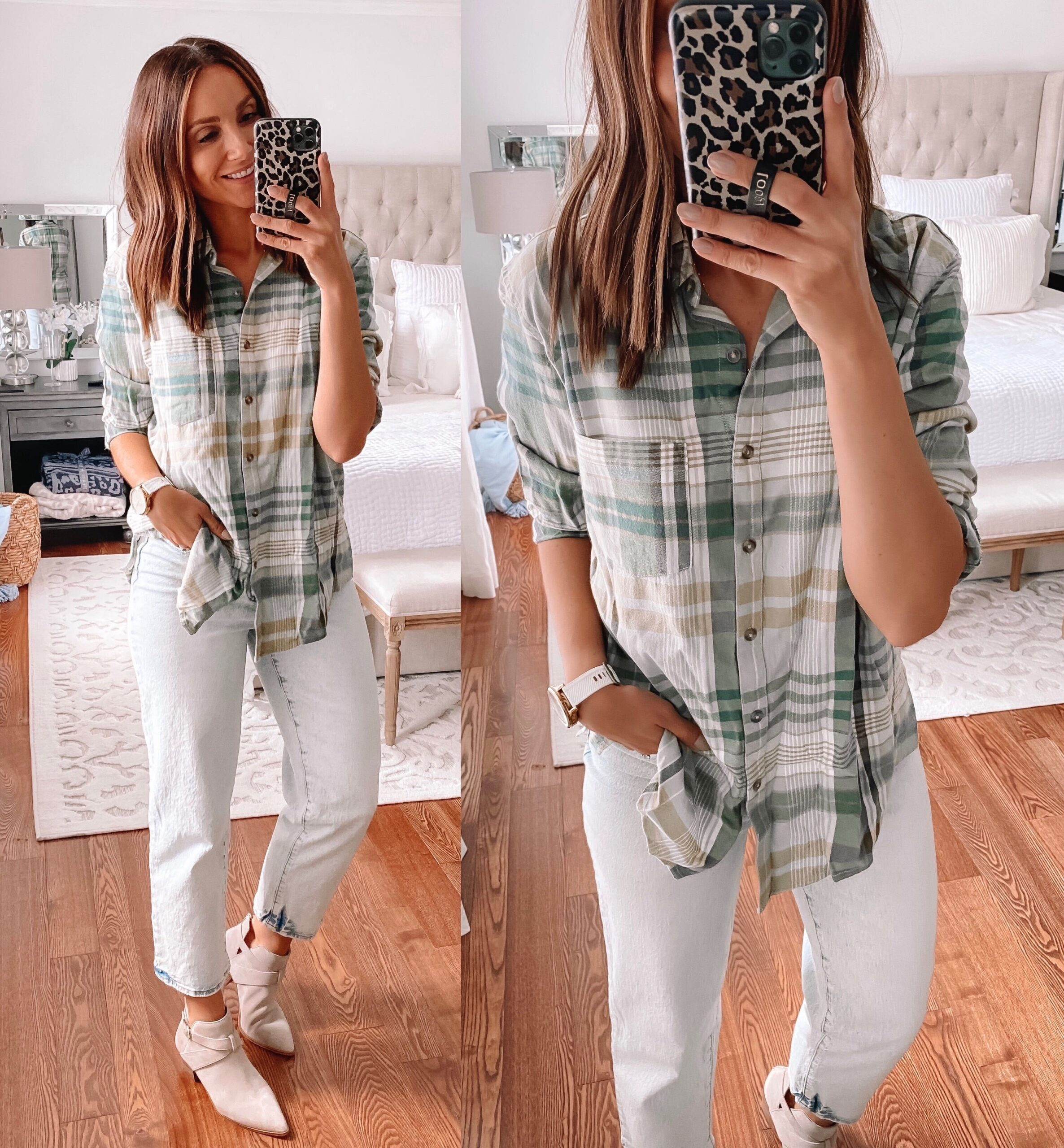target style, fall outfit, flannel shirt