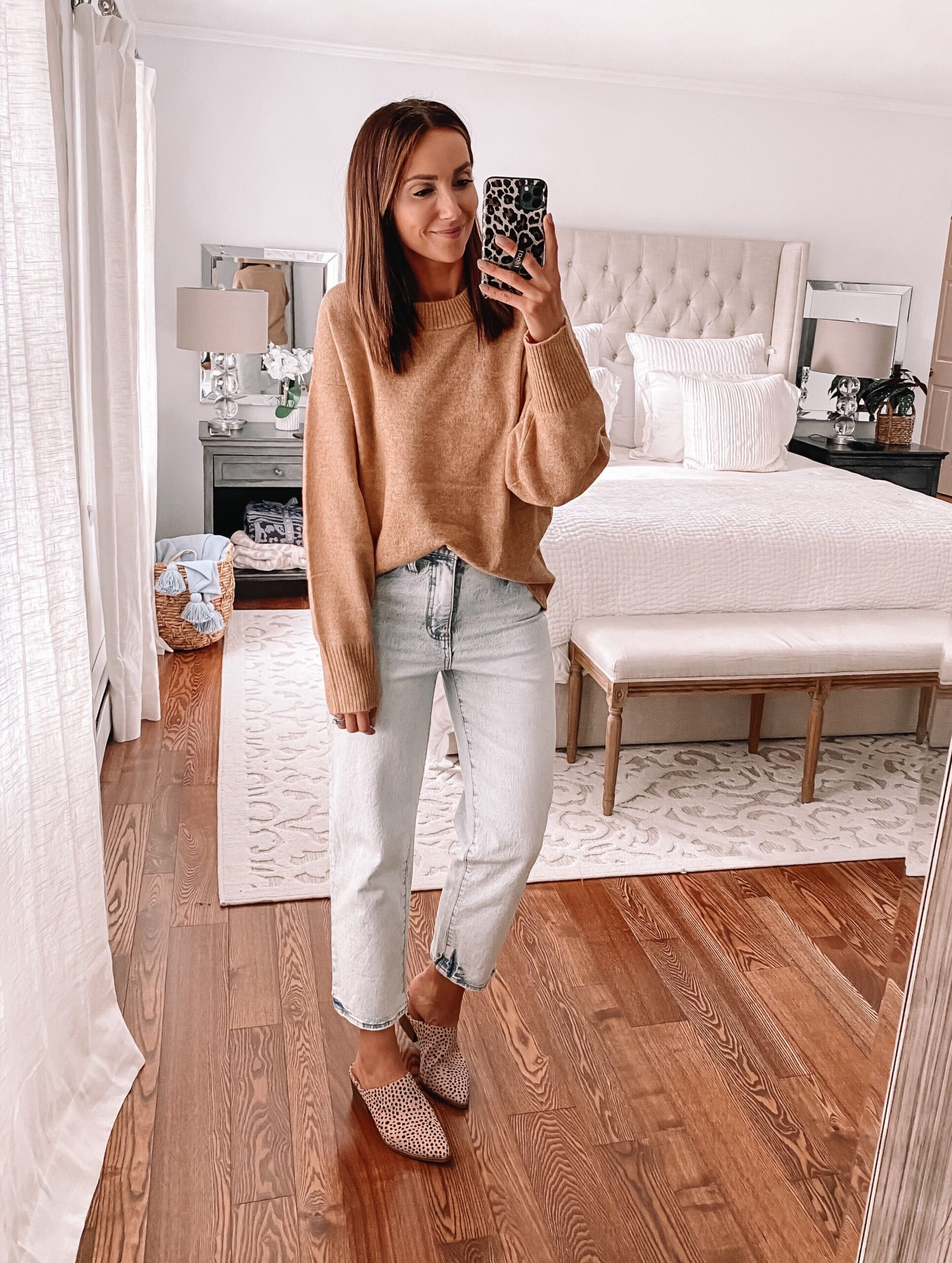 target brown sweater with jeans, fall outfit idea