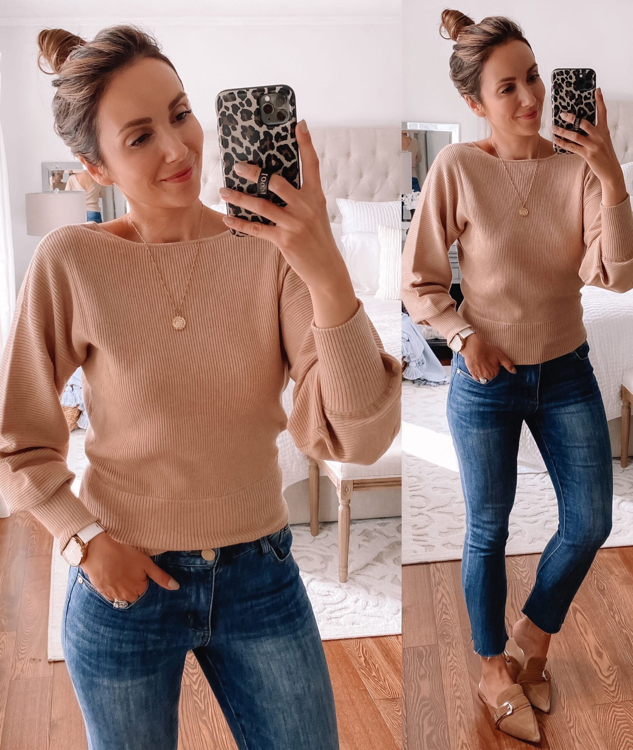 affordable fall fashion, walmart sweater and jeans