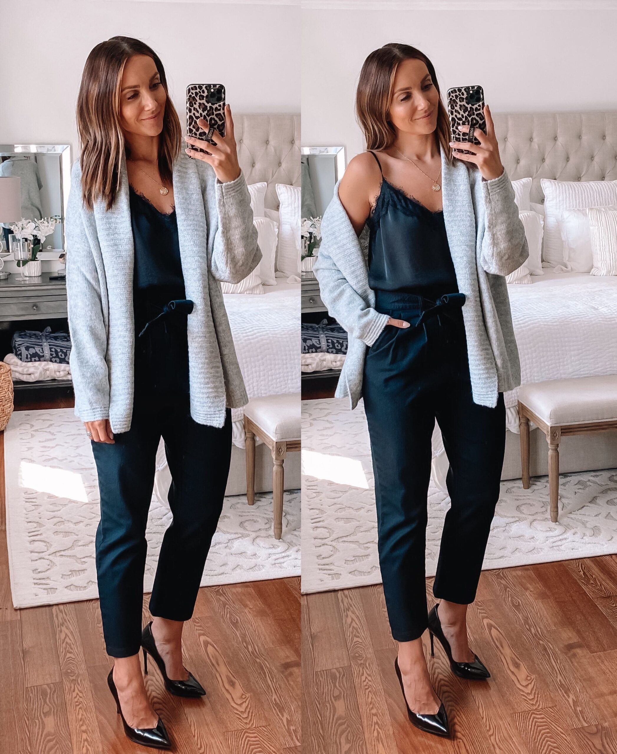 Target workwear style with cardigan and lace trim cami