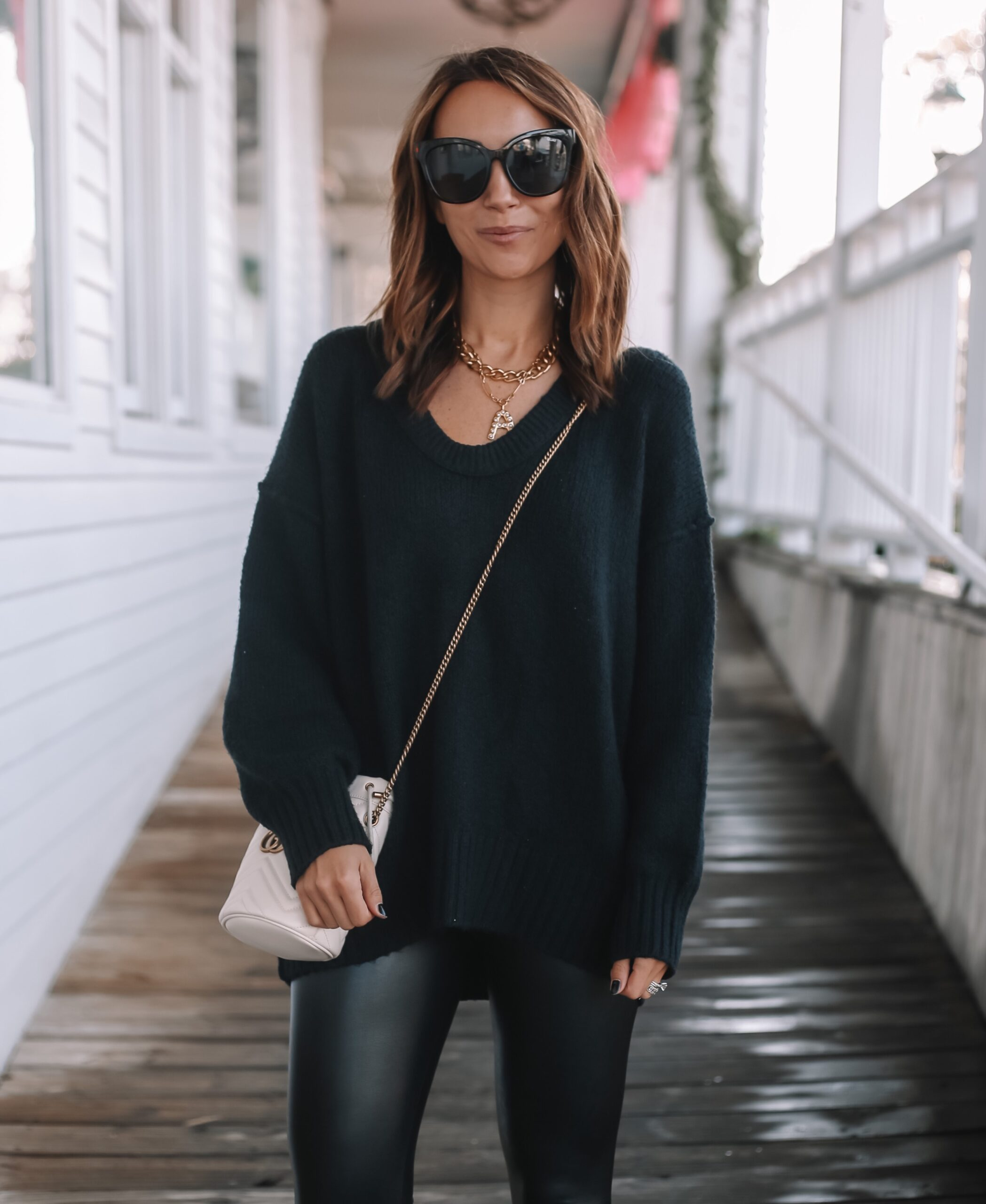 fall wardrobe essentials, cozy free people oversized sweater, outfit with leggings