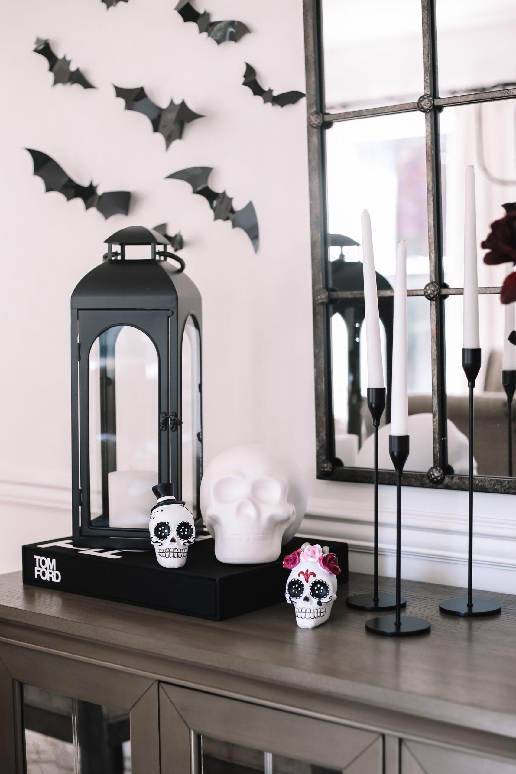 halloween dining room decor, sugar skulls
