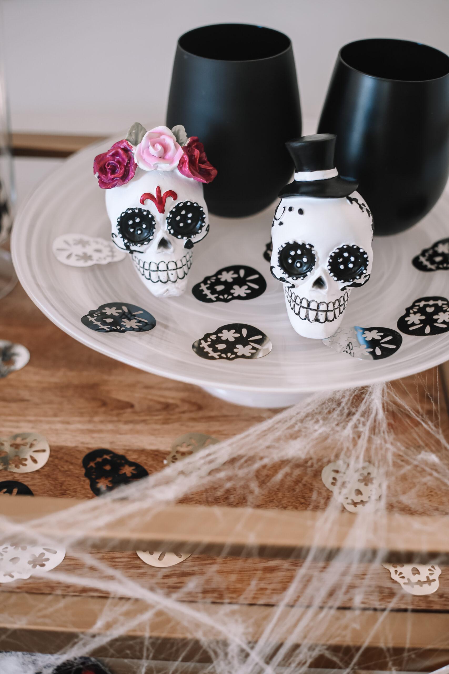sugar skulls, sugar skull confetti, halloween