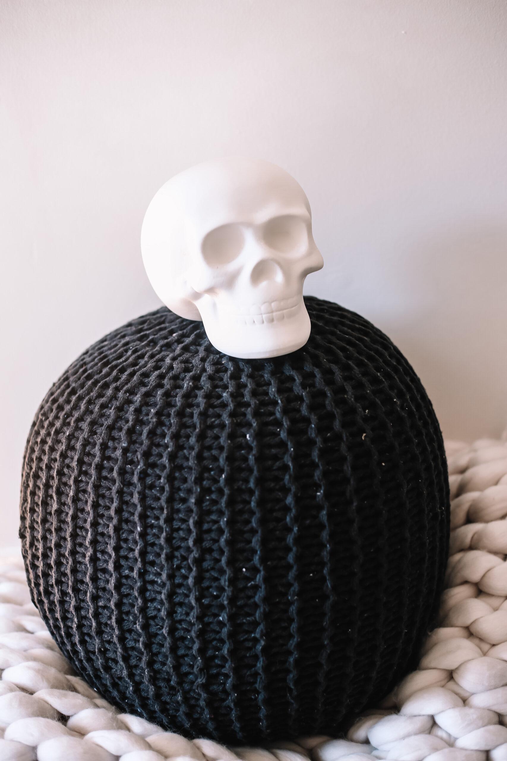knit pouff, skull, halloween decor