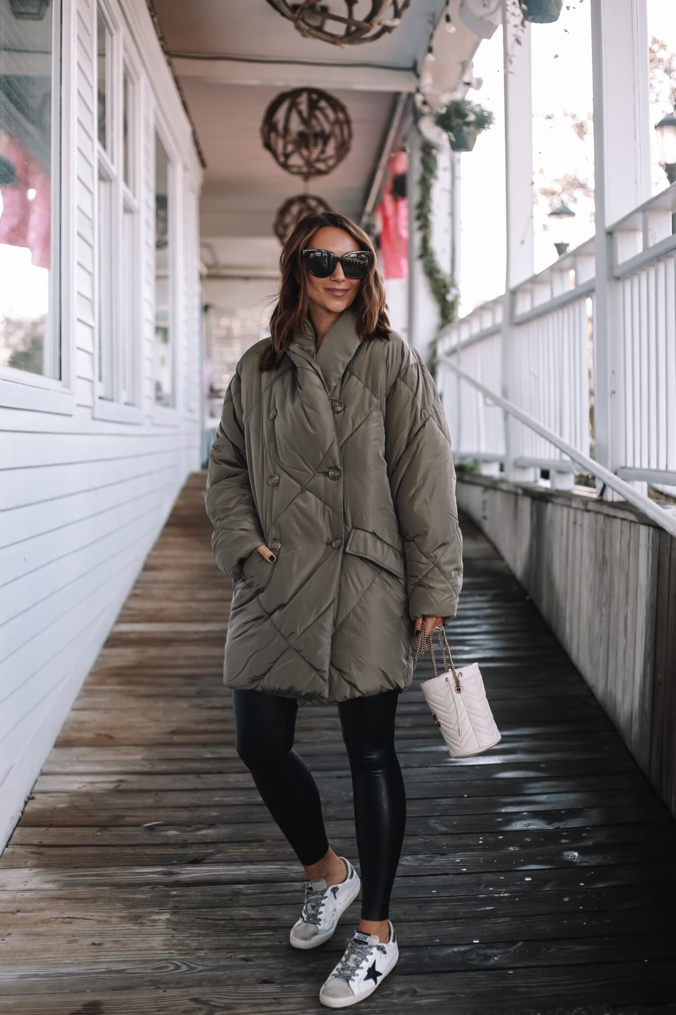 warm jacket outfit, green free people jacket