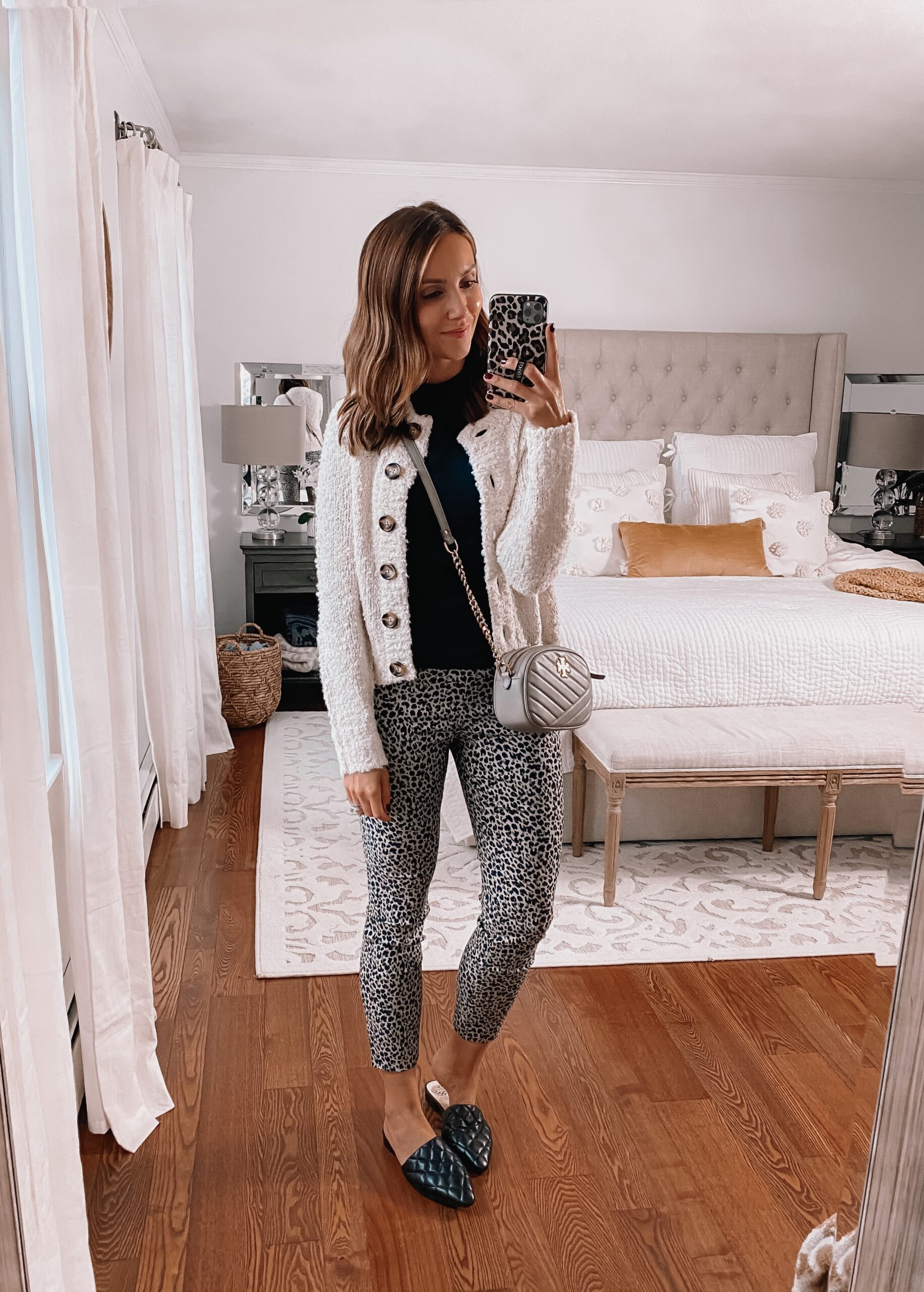target style, target cropped cardigan, leopard pants