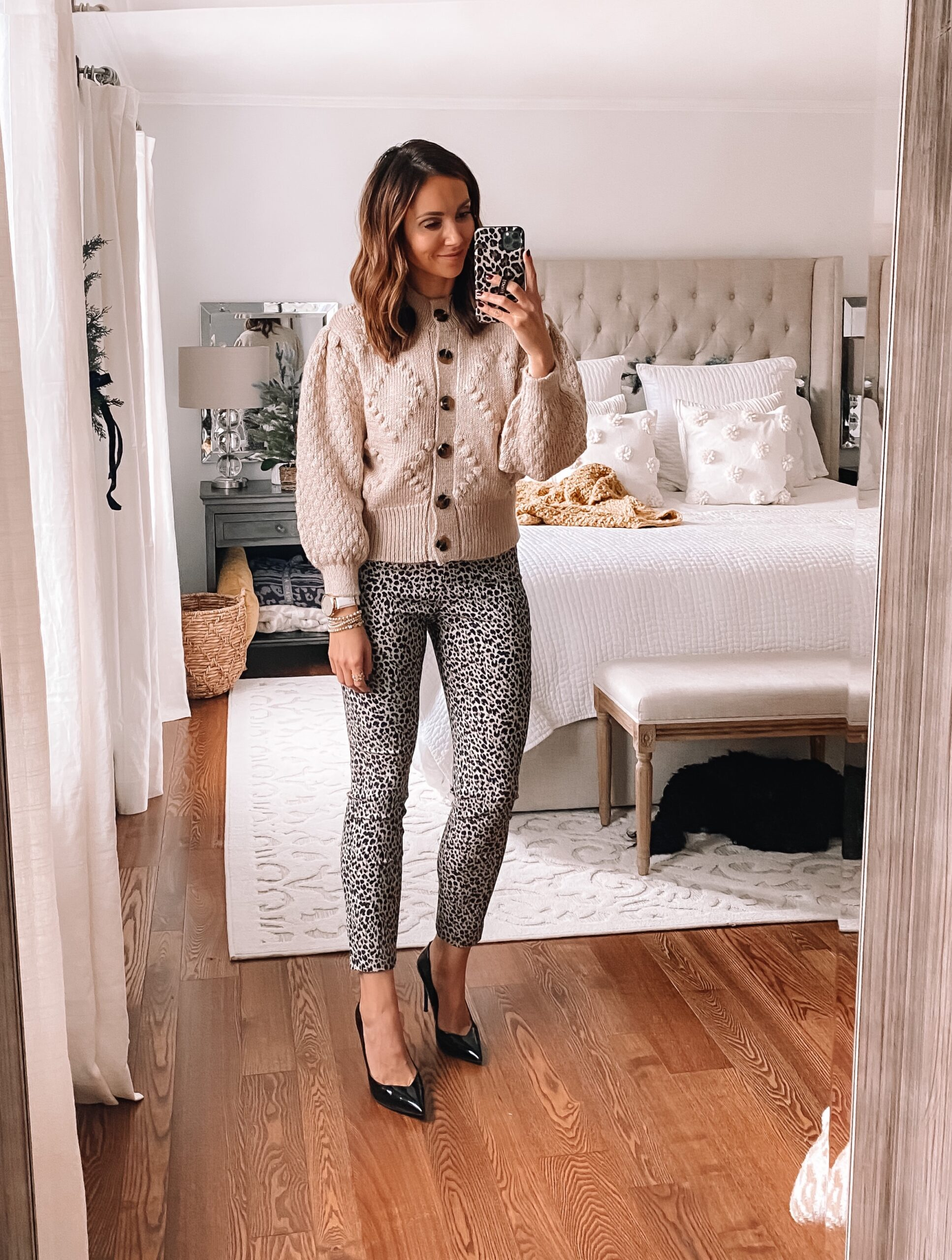 target style, workwear, leopard pants with cardigan