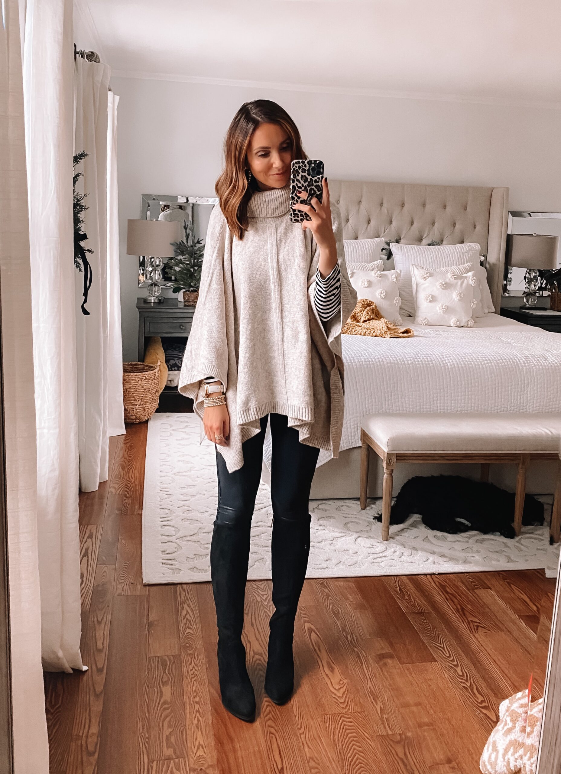 sweater poncho with faux leather leggings