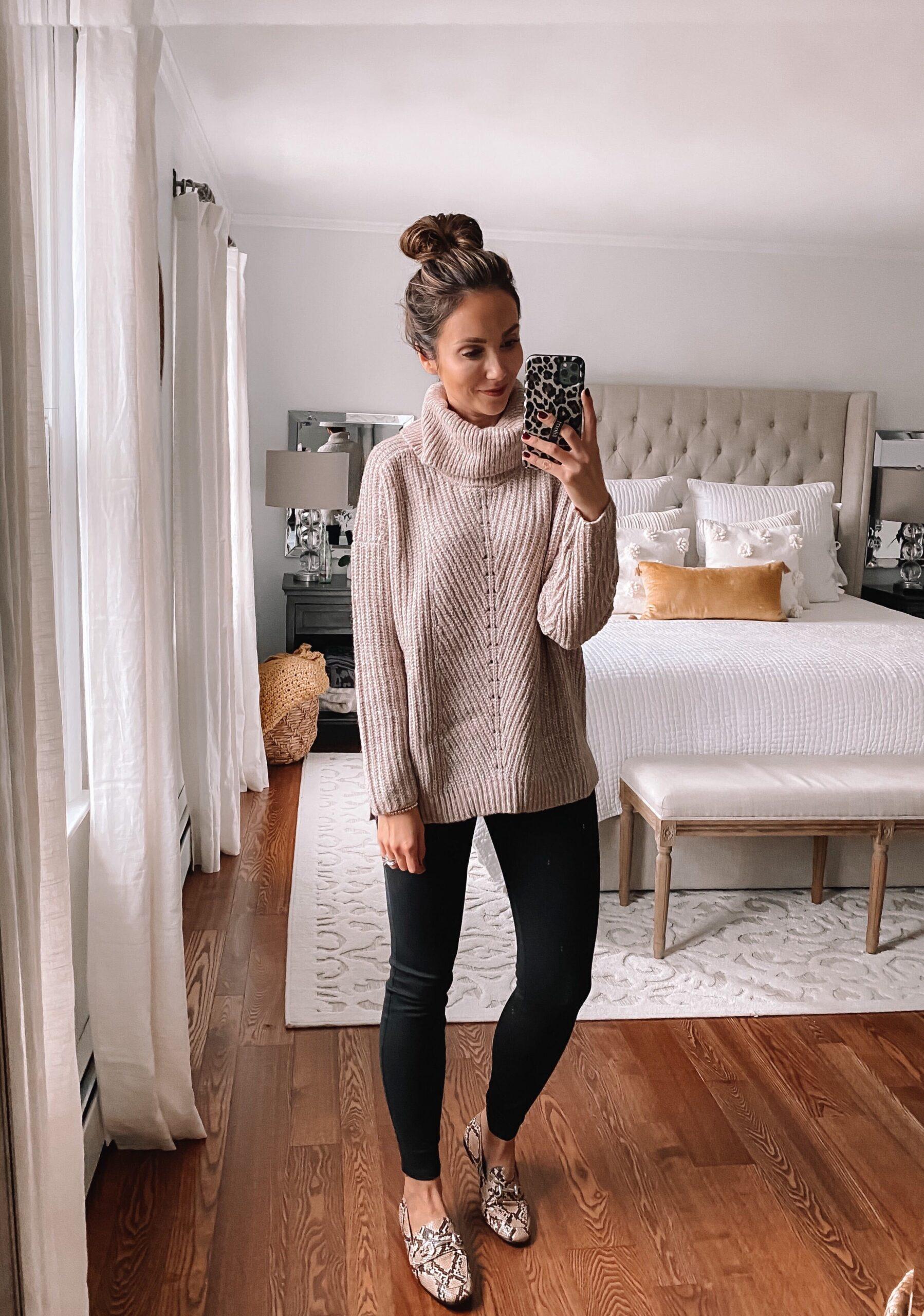 walmart chunky sweater, fall outfit idea, black jeggings