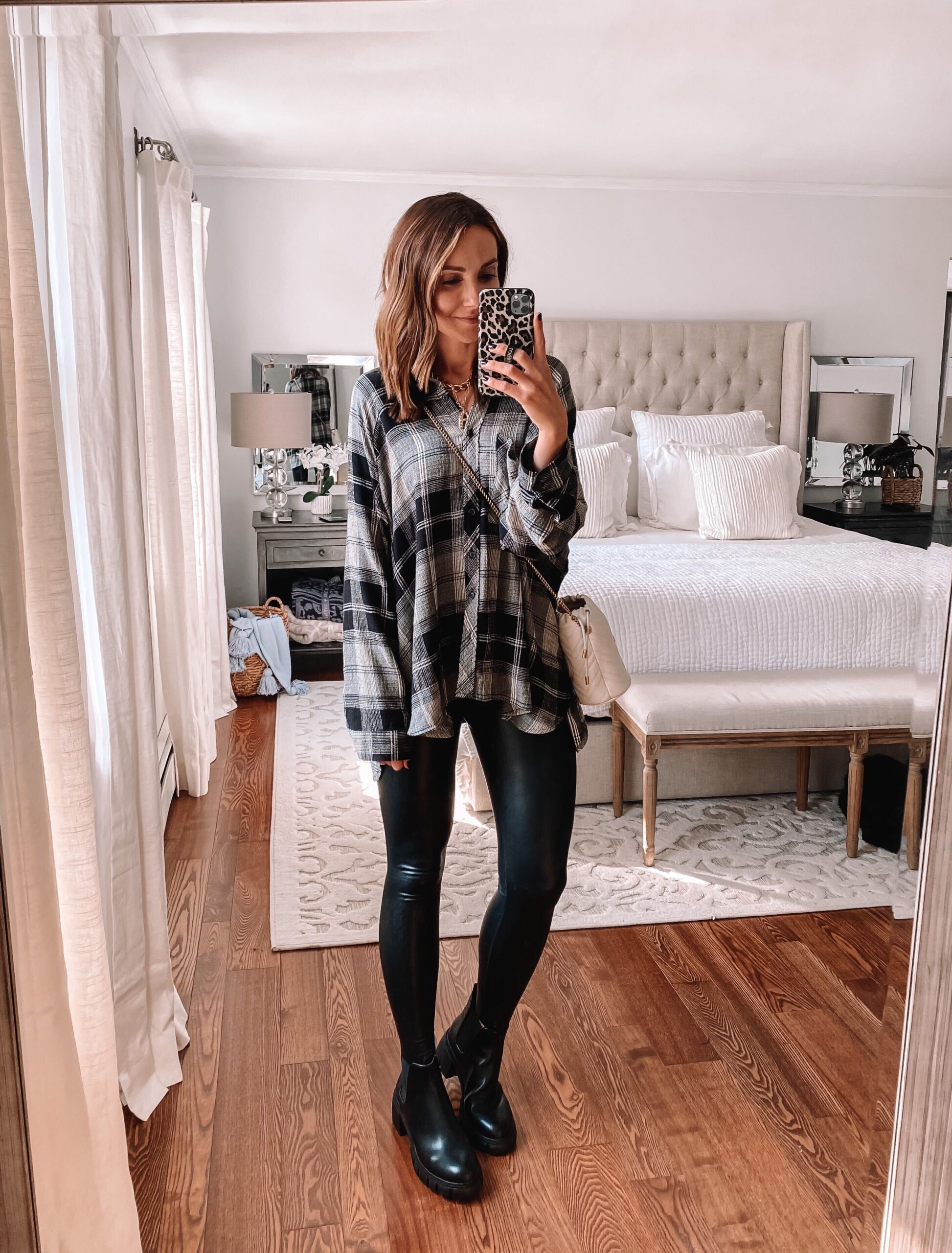 flannel with faux leather leggings, fall outfit idea with leggings