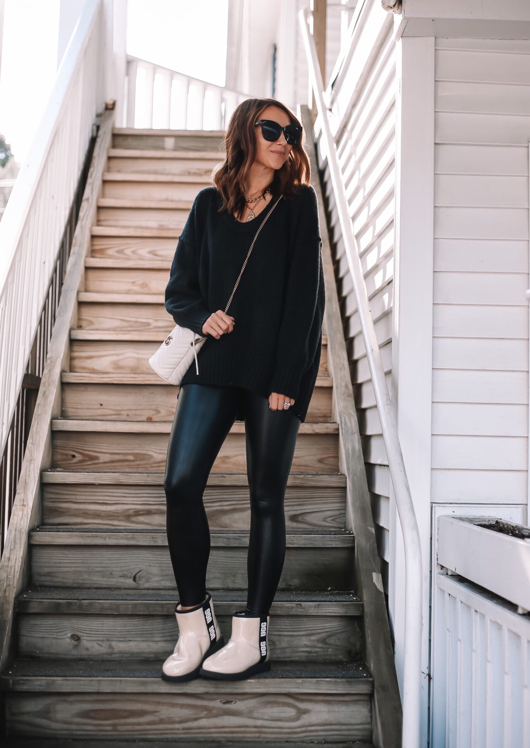free people sweater, fall outfit ideas, waterproof ugg booties
