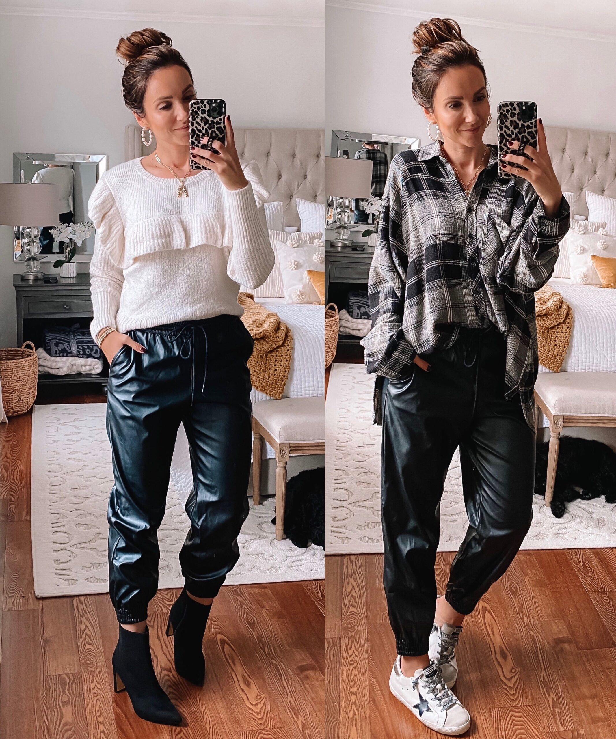 target faux leather joggers, target fall outfit