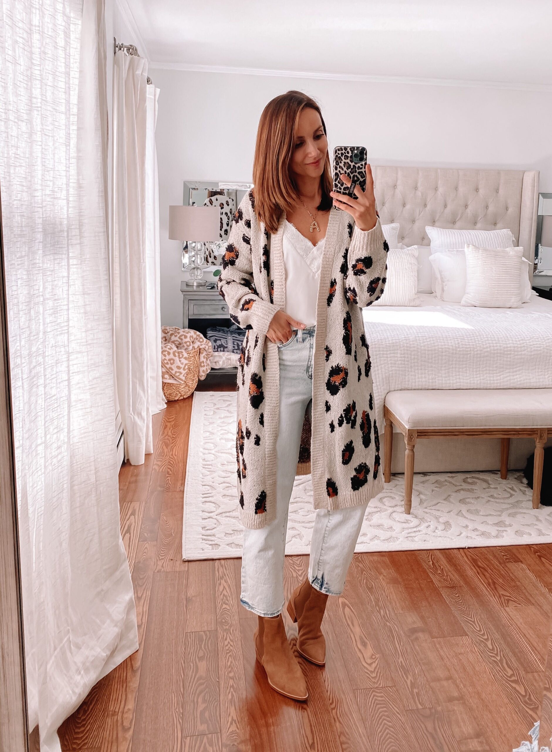target leopard cardigan, fall casual outfit
