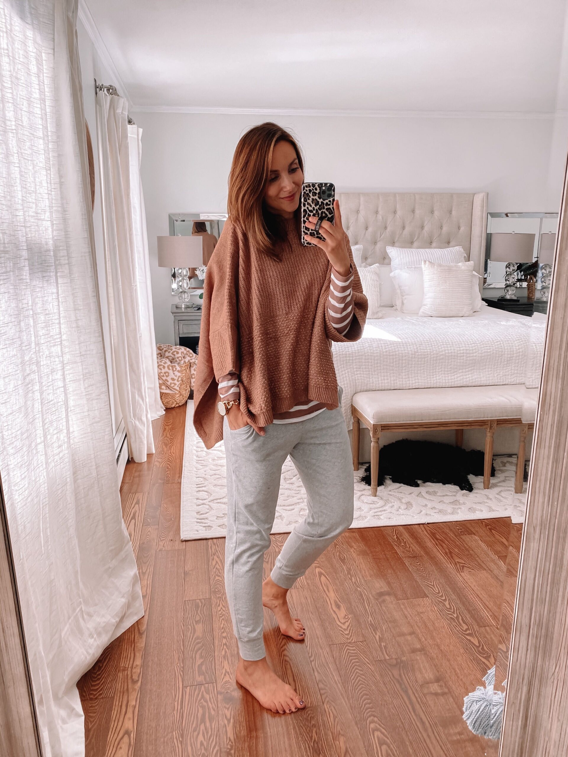 sweater poncho and joggers
