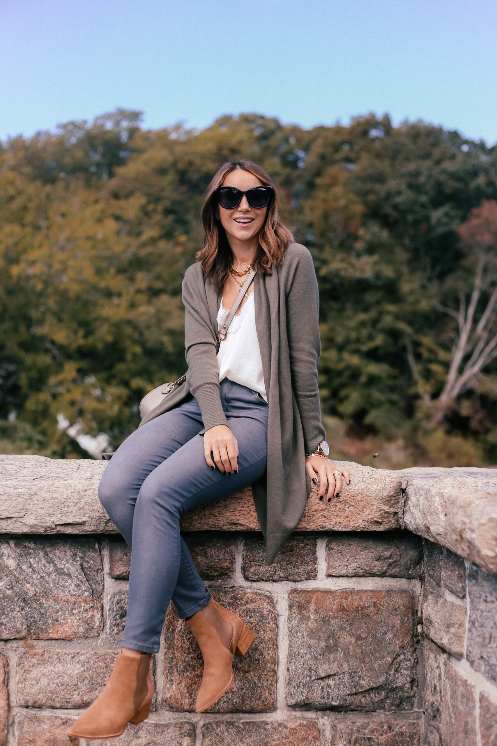 fall outfit idea, long cardigan, booties