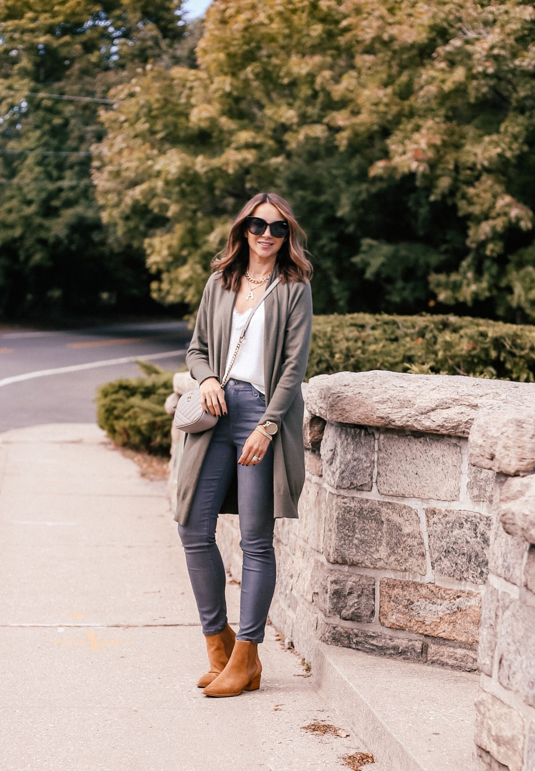 fall outfit, cardigan, jeans booties