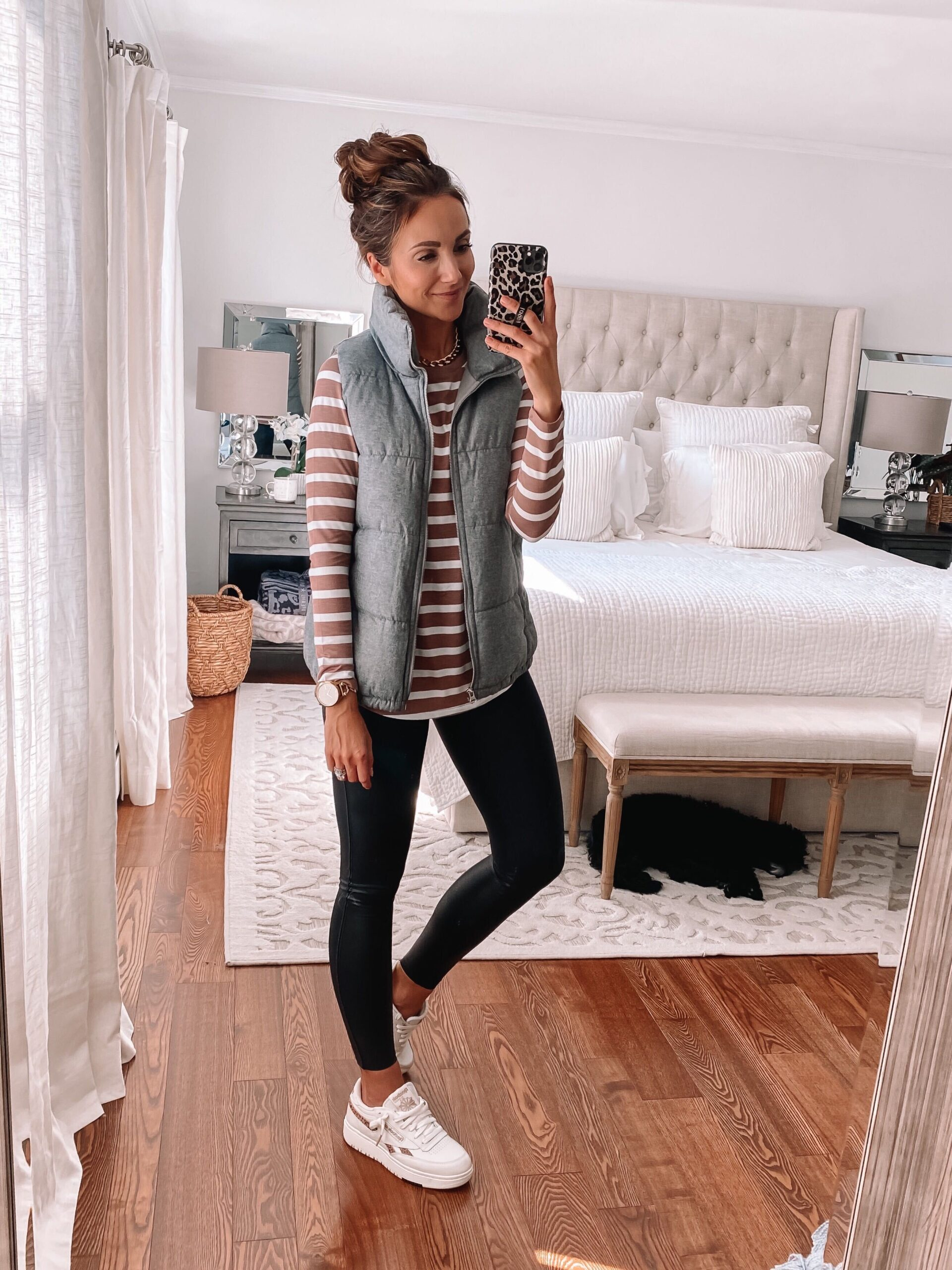 casual fall outfit, layering tee, old navy vest