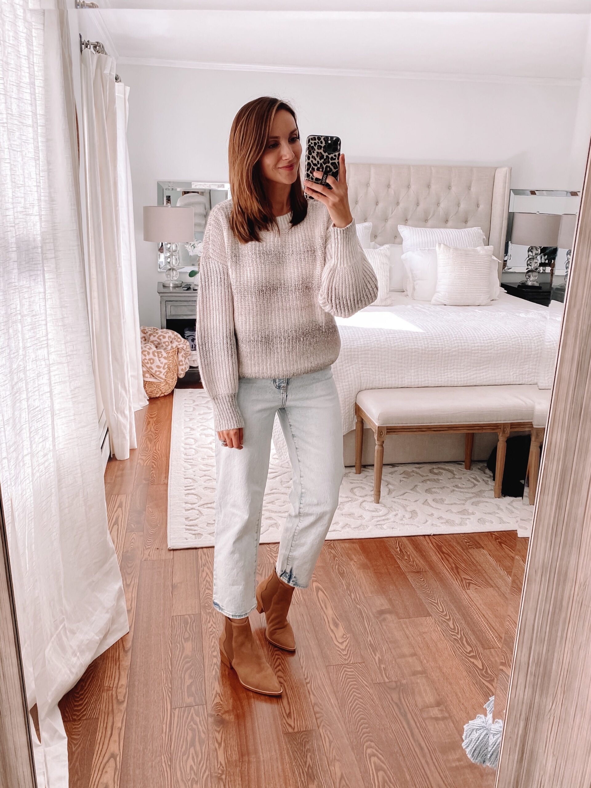Target ombre sweater, jeans, booties